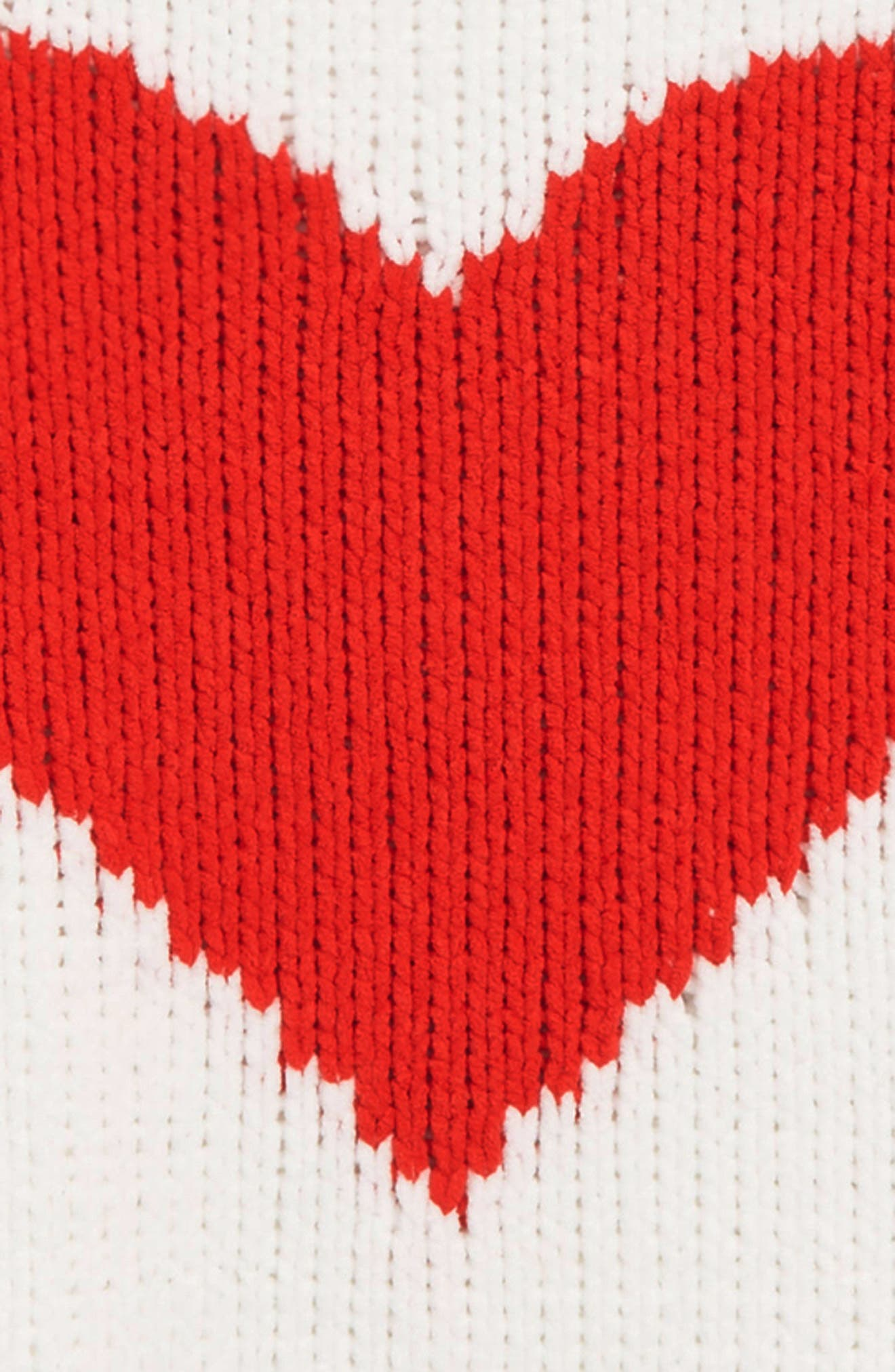 Sweetheart Intarsia Sweater,                             Alternate thumbnail 2, color,                             WHITE- RED HEART