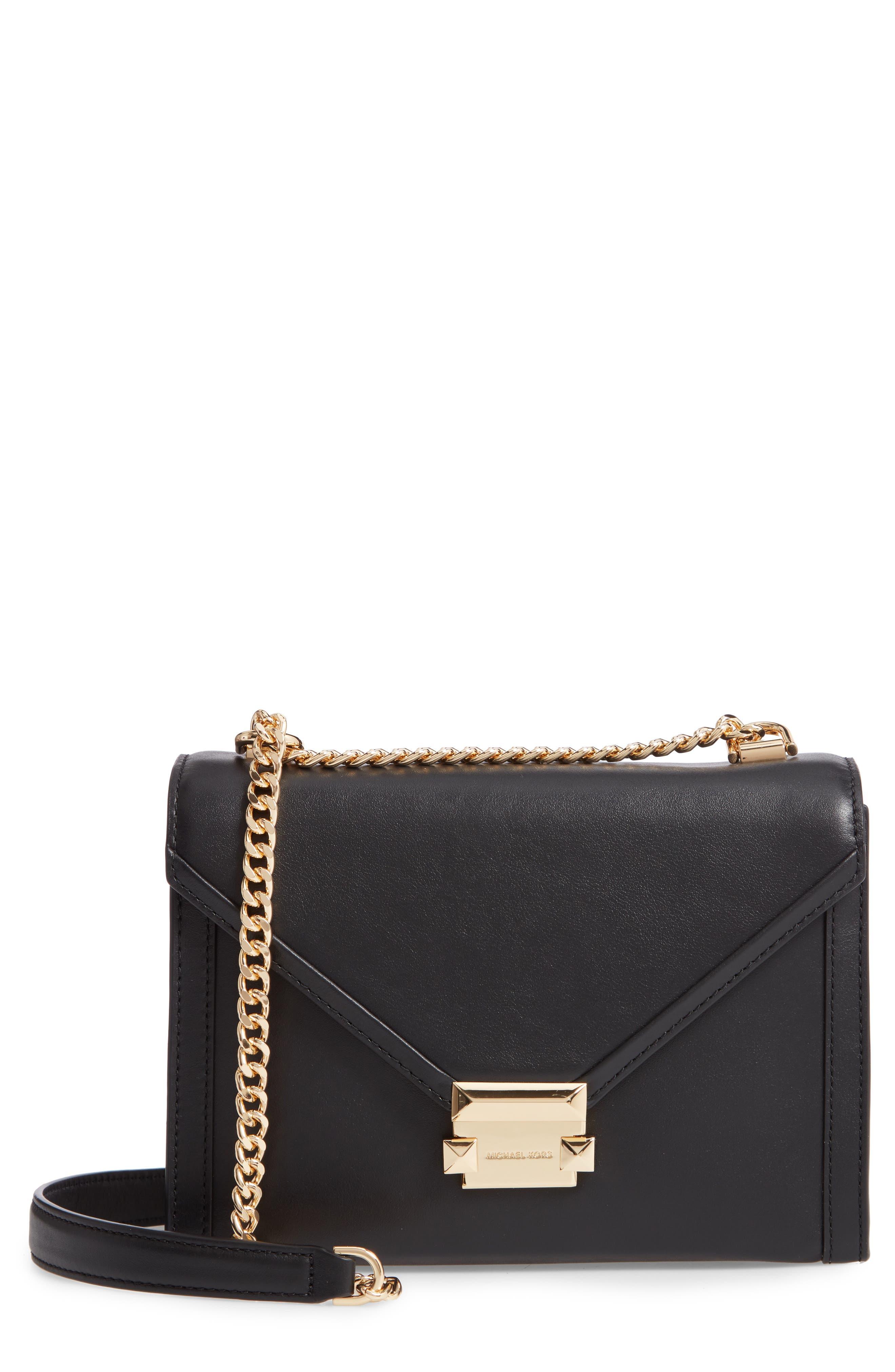 MICHAEL MICHAEL KORS,                             Large Whitney Leather Shoulder Bag,                             Main thumbnail 1, color,                             BLACK