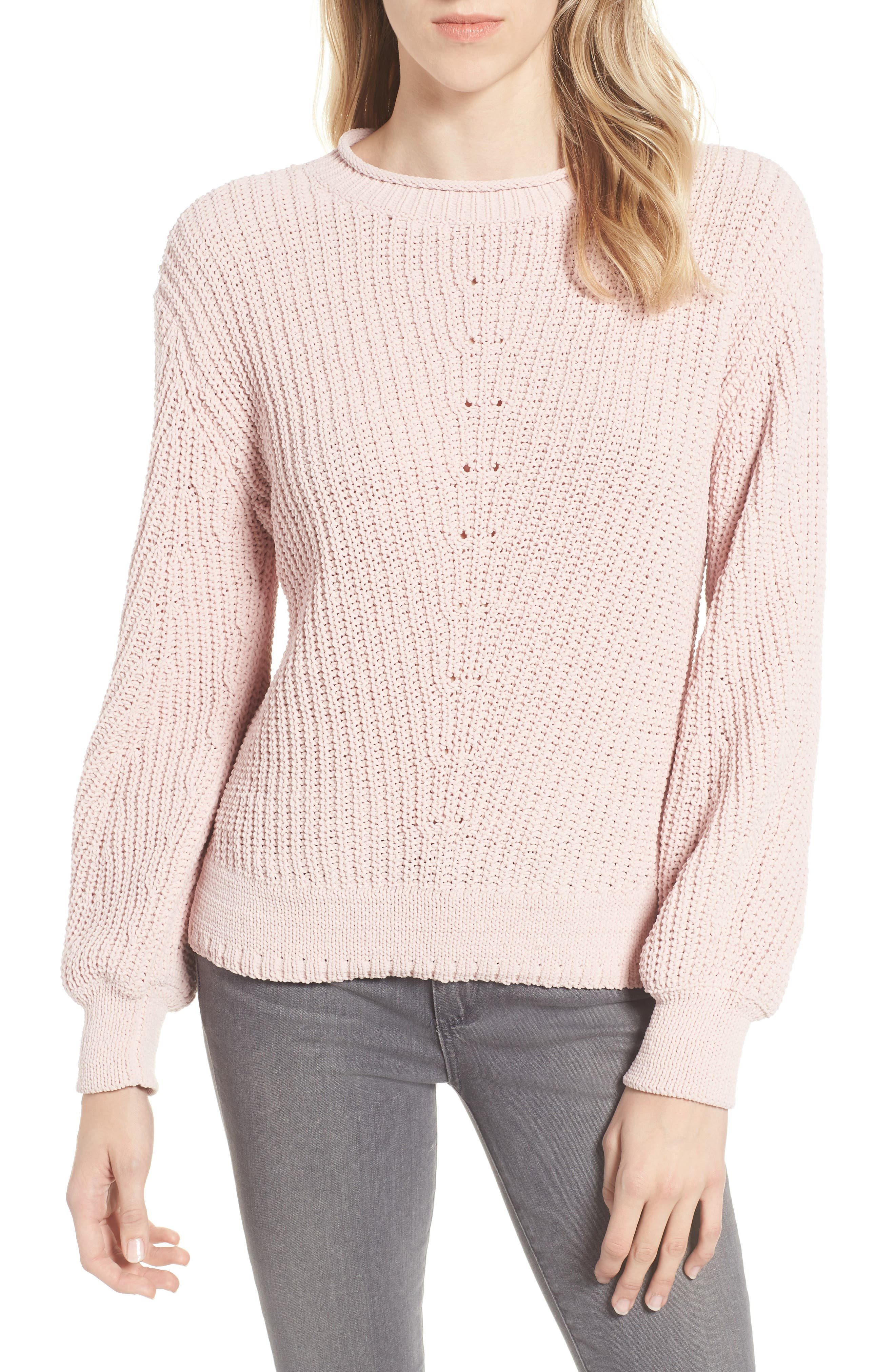 Chenille Crewneck Sweater,                             Main thumbnail 1, color,                             PINK SEPIA