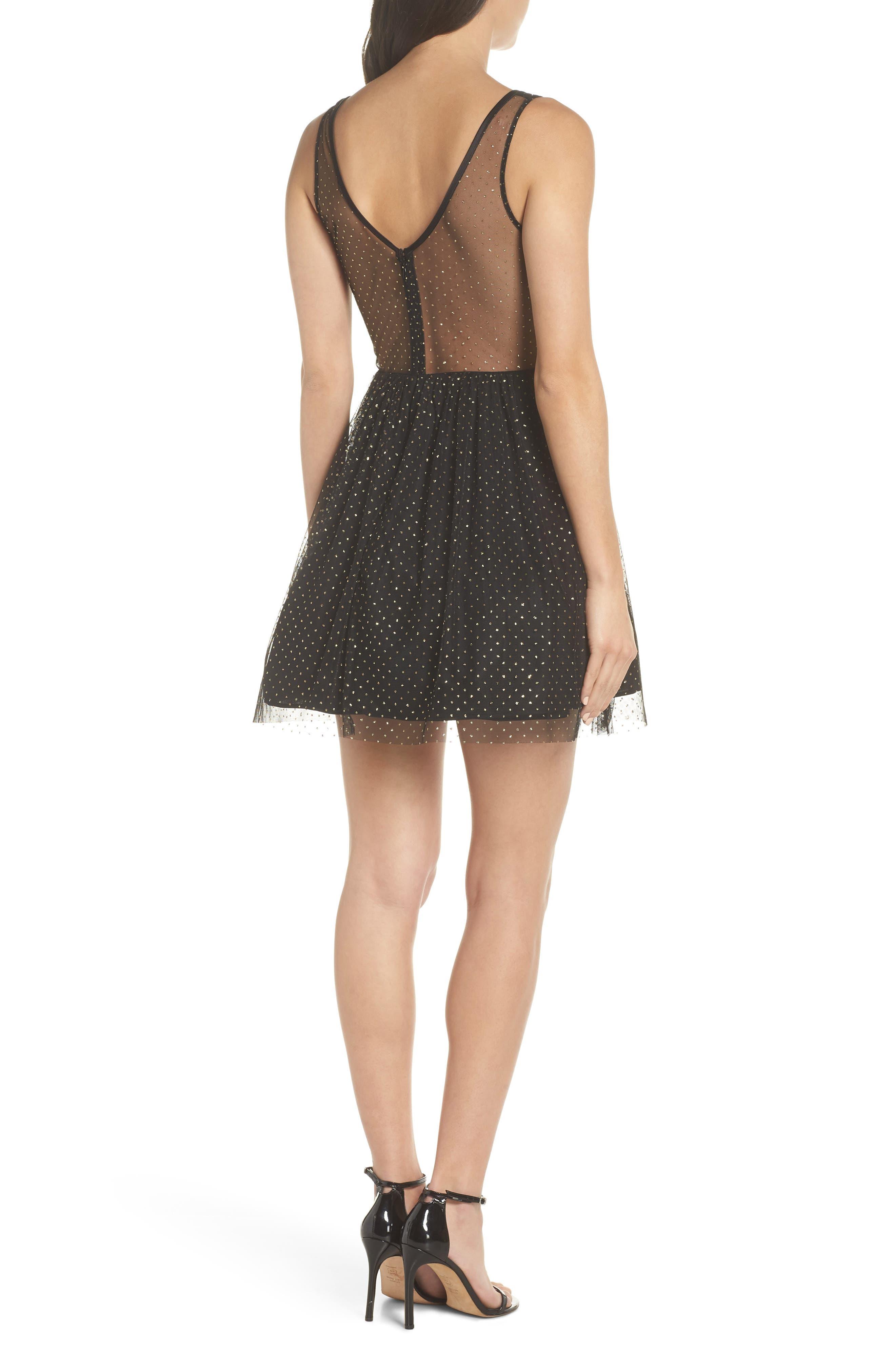 Glitter Dot Fit & Flare Party Dress,                             Alternate thumbnail 2, color,                             BLACK/ GOLD