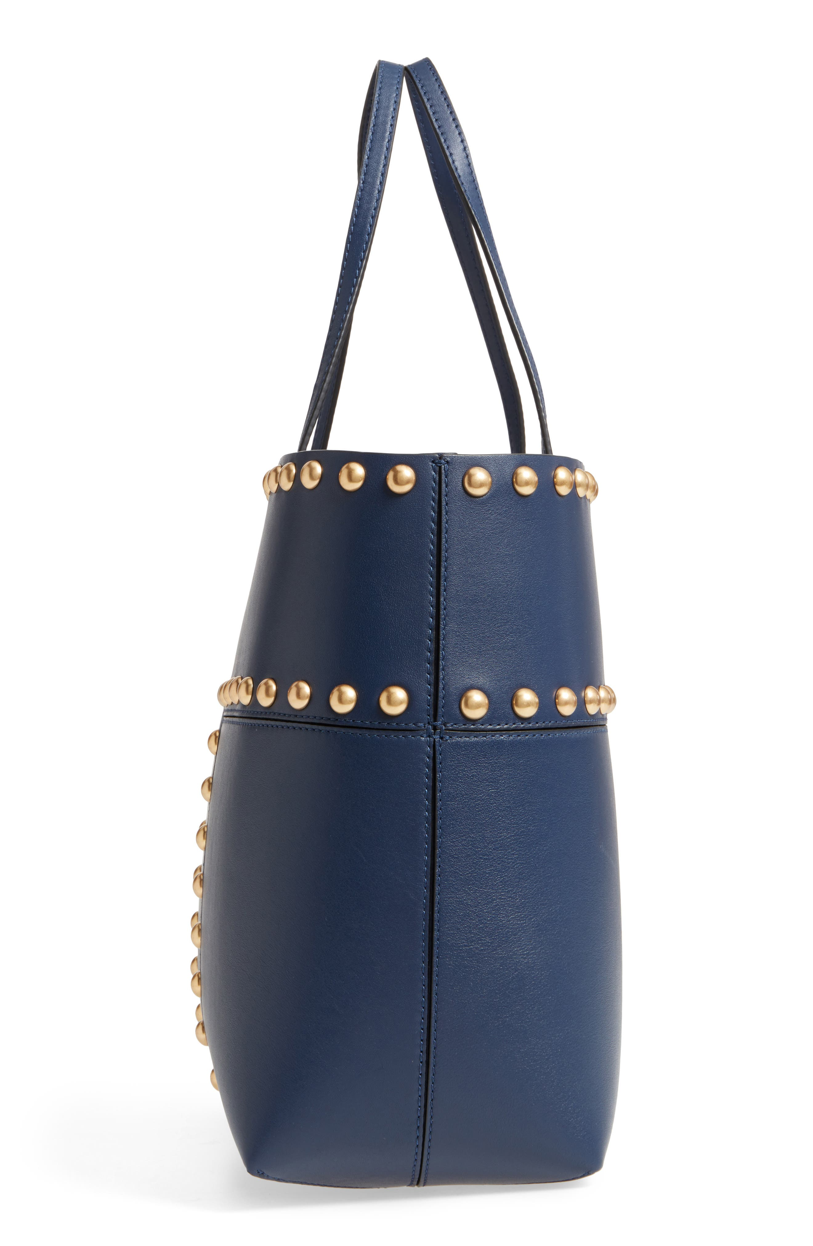 Block-T Studded Leather Tote,                             Alternate thumbnail 10, color,