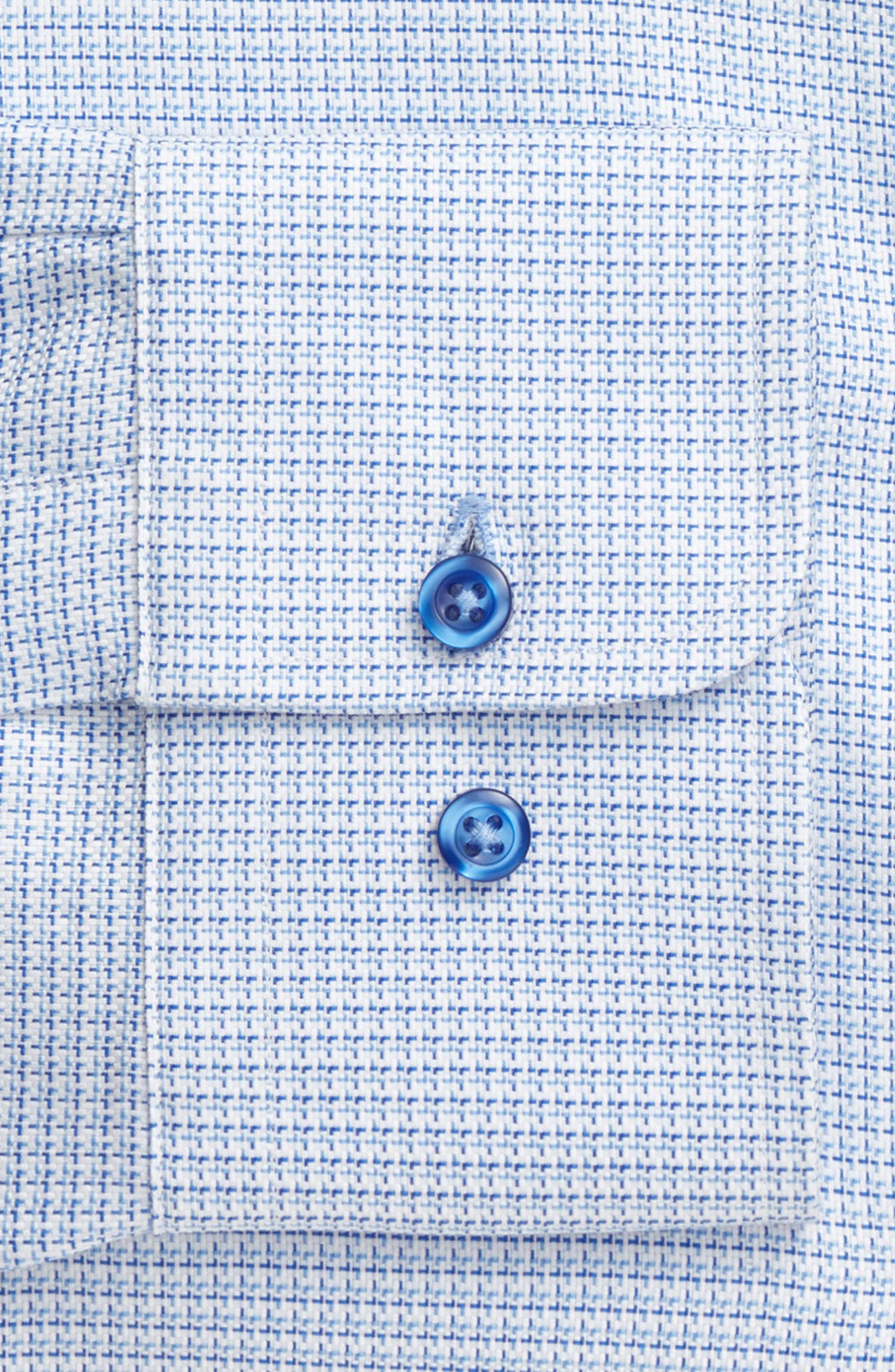 Trim Fit Check Dress Shirt,                             Alternate thumbnail 6, color,                             BLUE