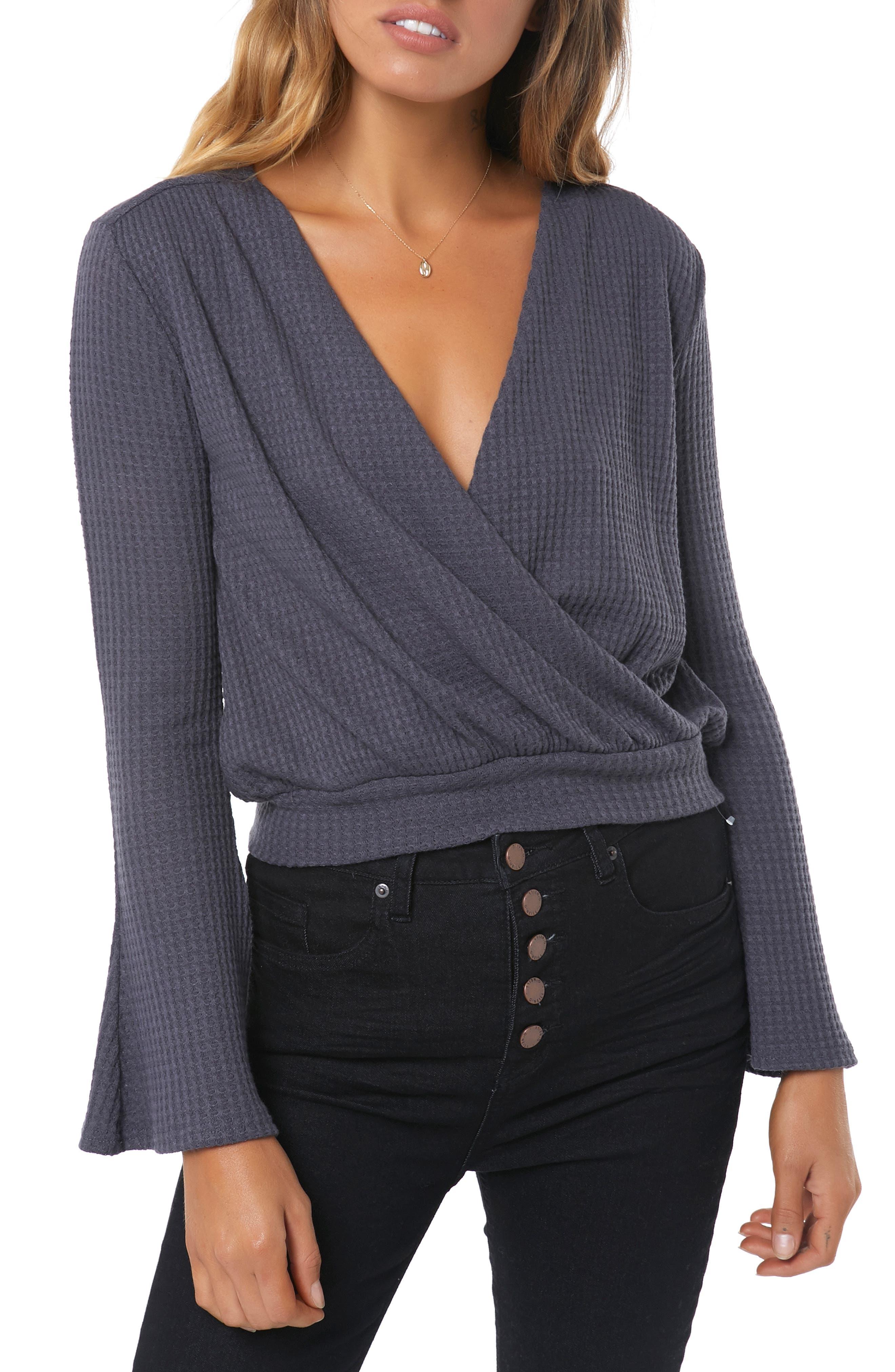 Cayenne Knit Wrap Top,                         Main,                         color, EBONY