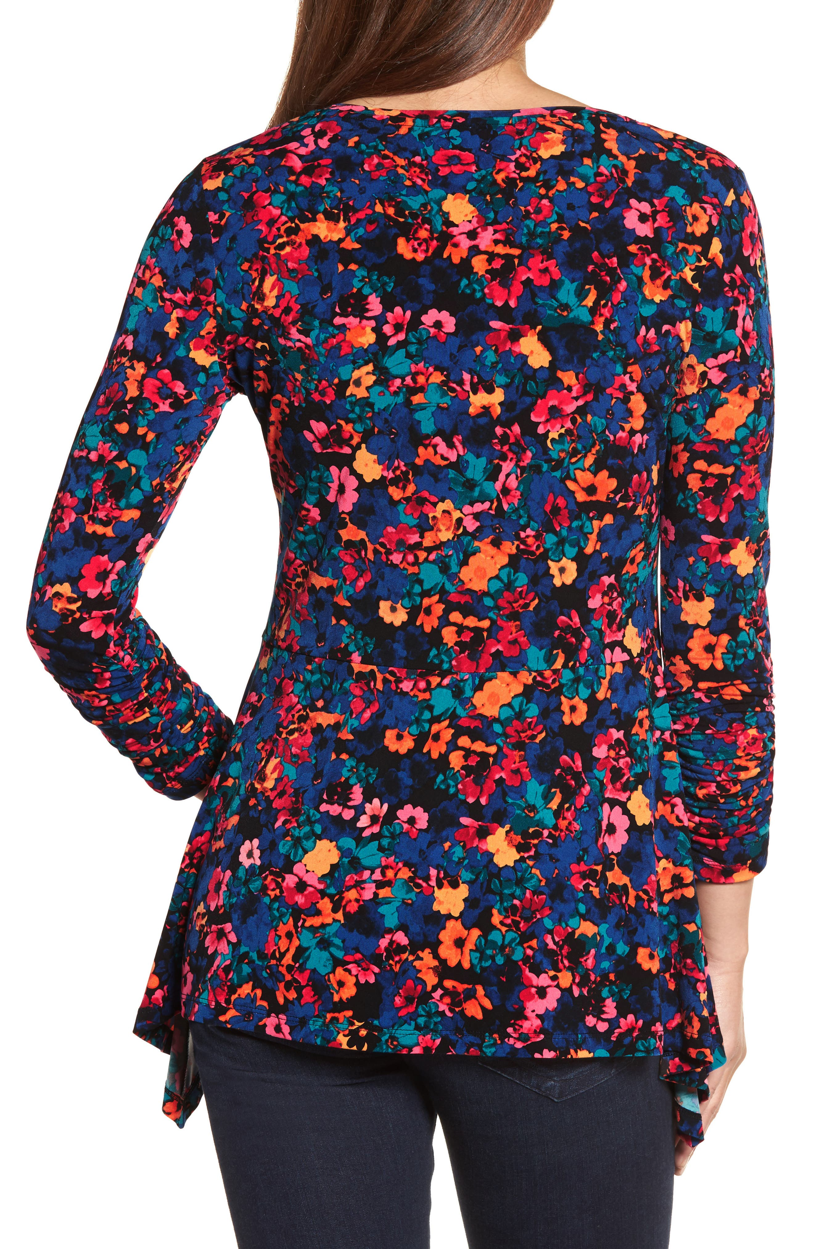 Floral Field Ruched Handkerchief Top,                             Alternate thumbnail 2, color,