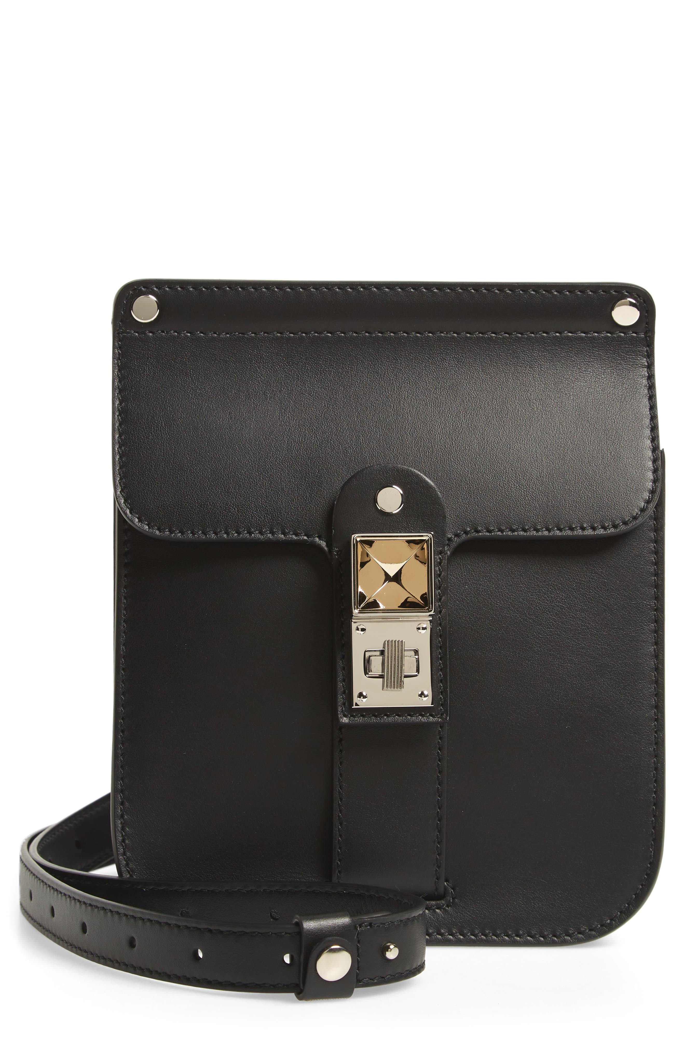 PS11 Box Leather Crossbody Bag, Main, color, BLACK
