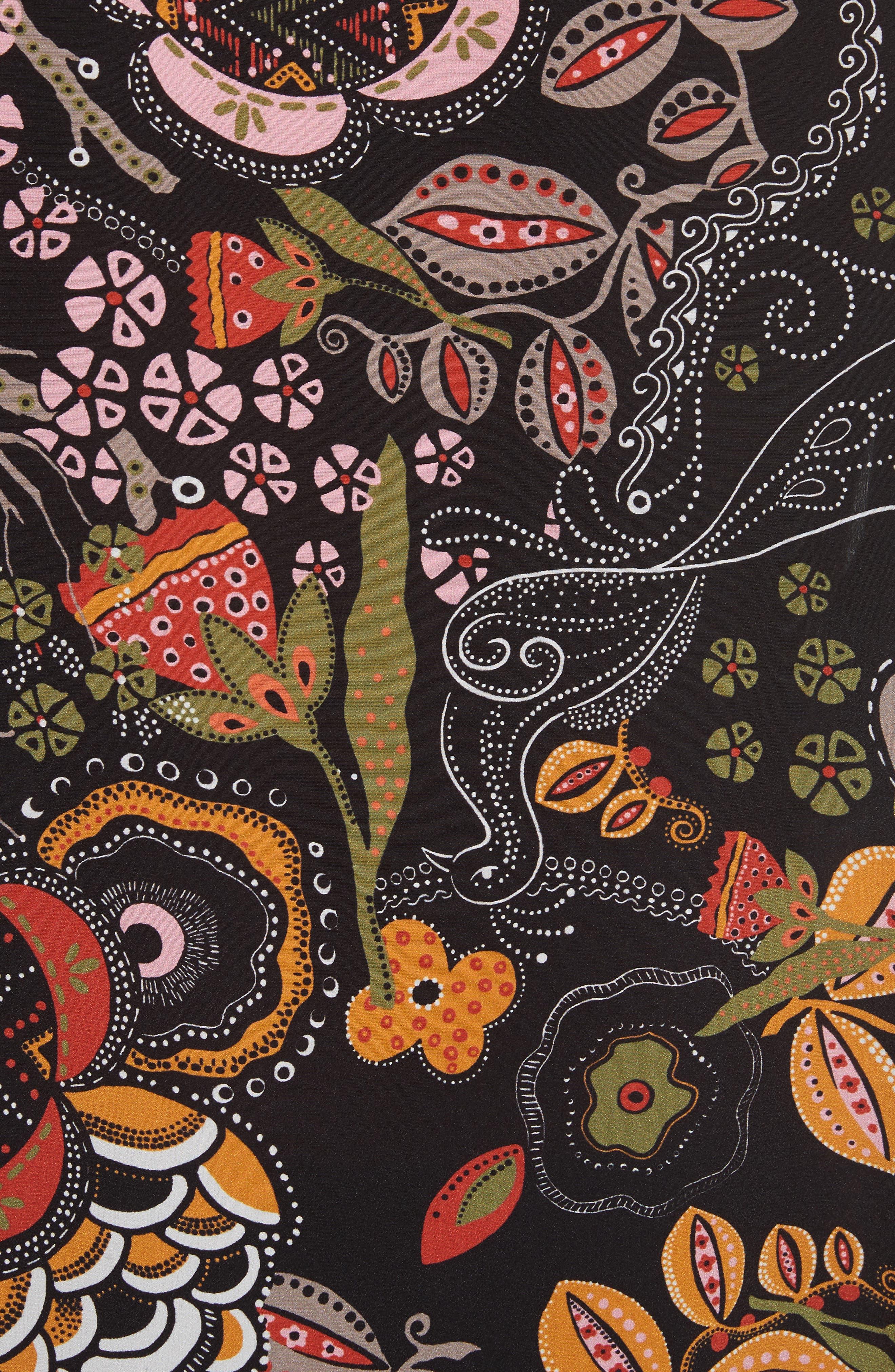 Zigzag Floral Silk Top,                             Alternate thumbnail 5, color,                             001