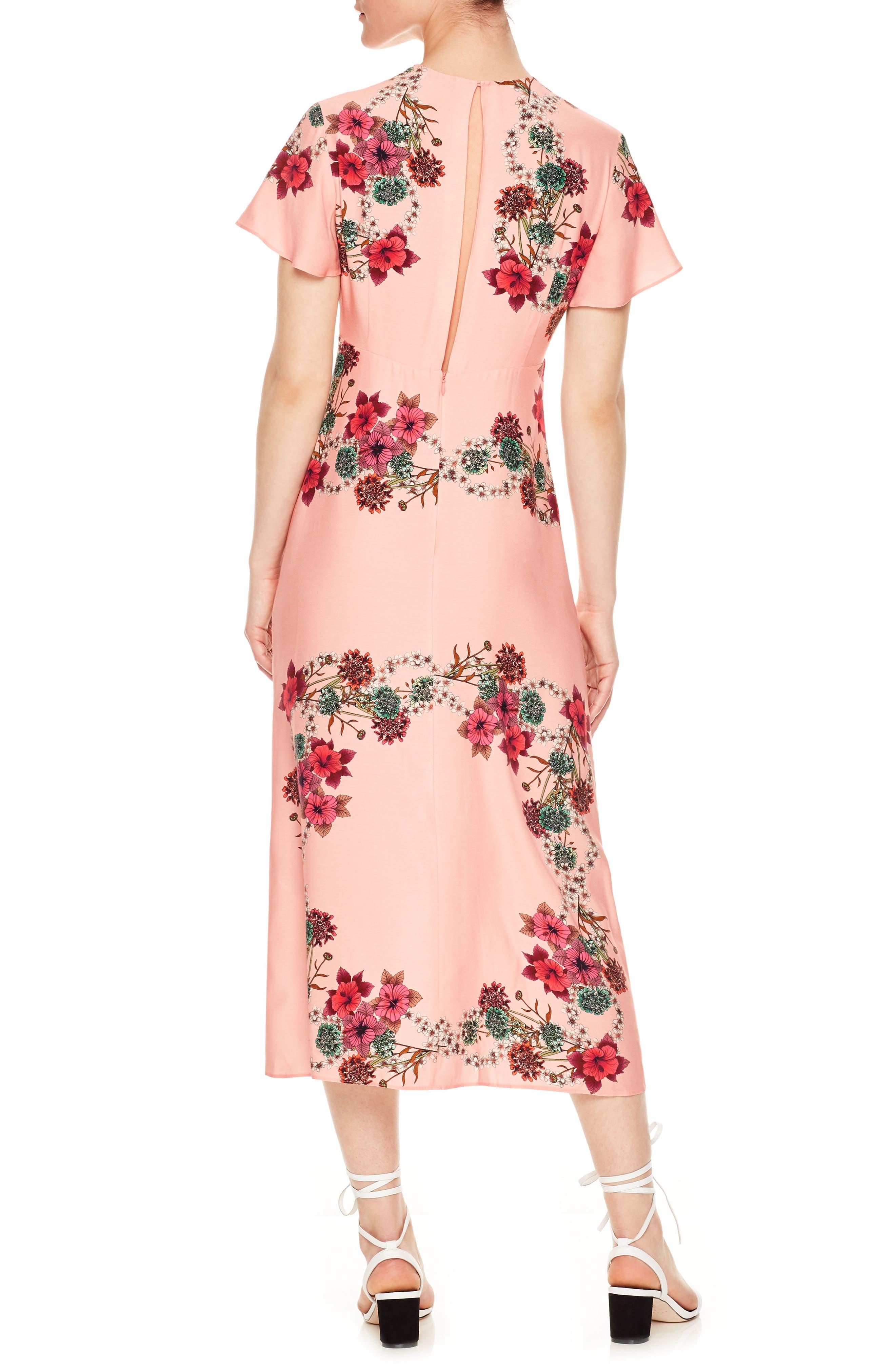 Floral Flutter Sleeve Dress,                             Alternate thumbnail 2, color,                             650