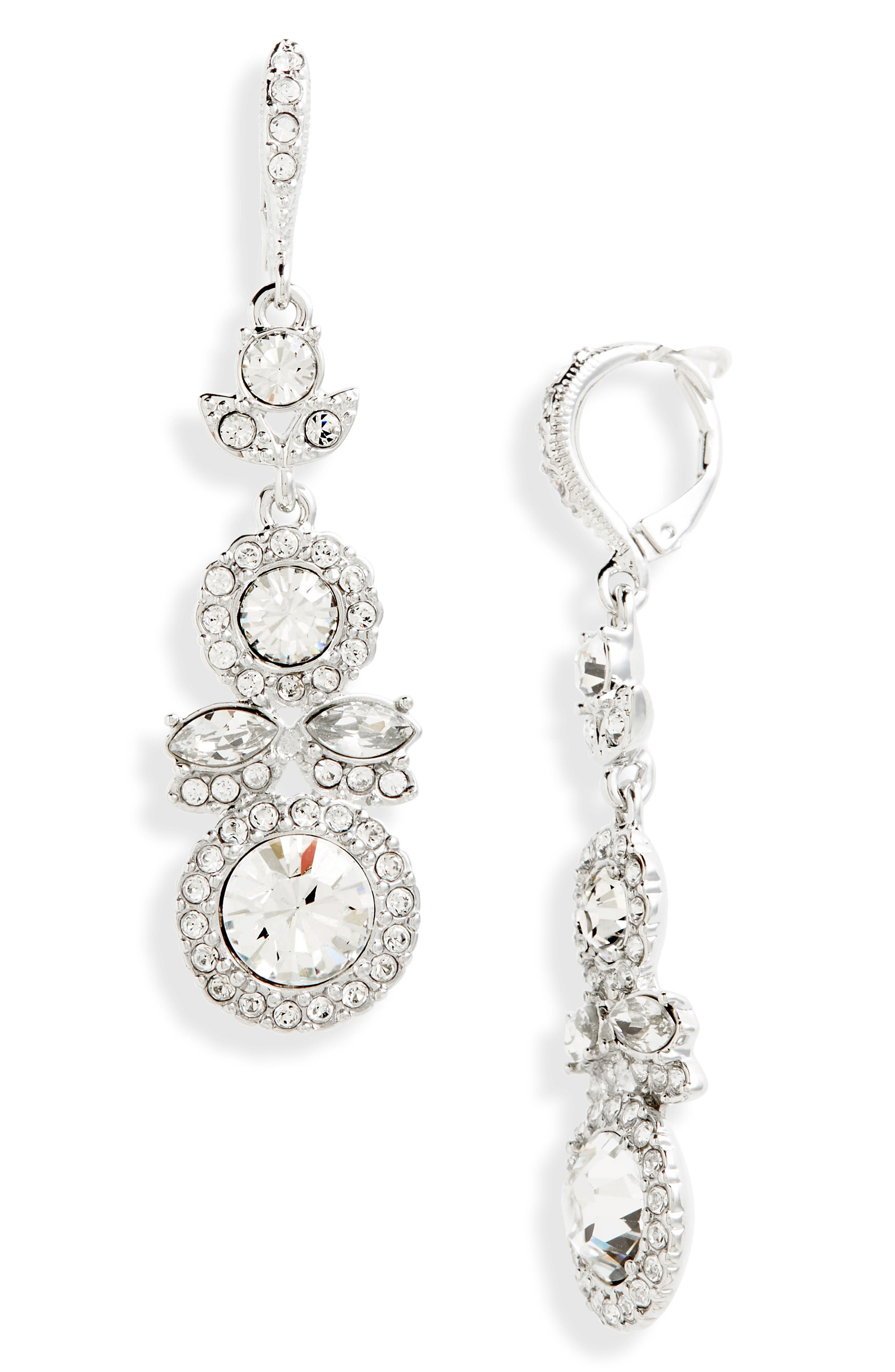 Crystal Drop Earrings,                             Main thumbnail 1, color,                             CRYSTAL/ SILVER