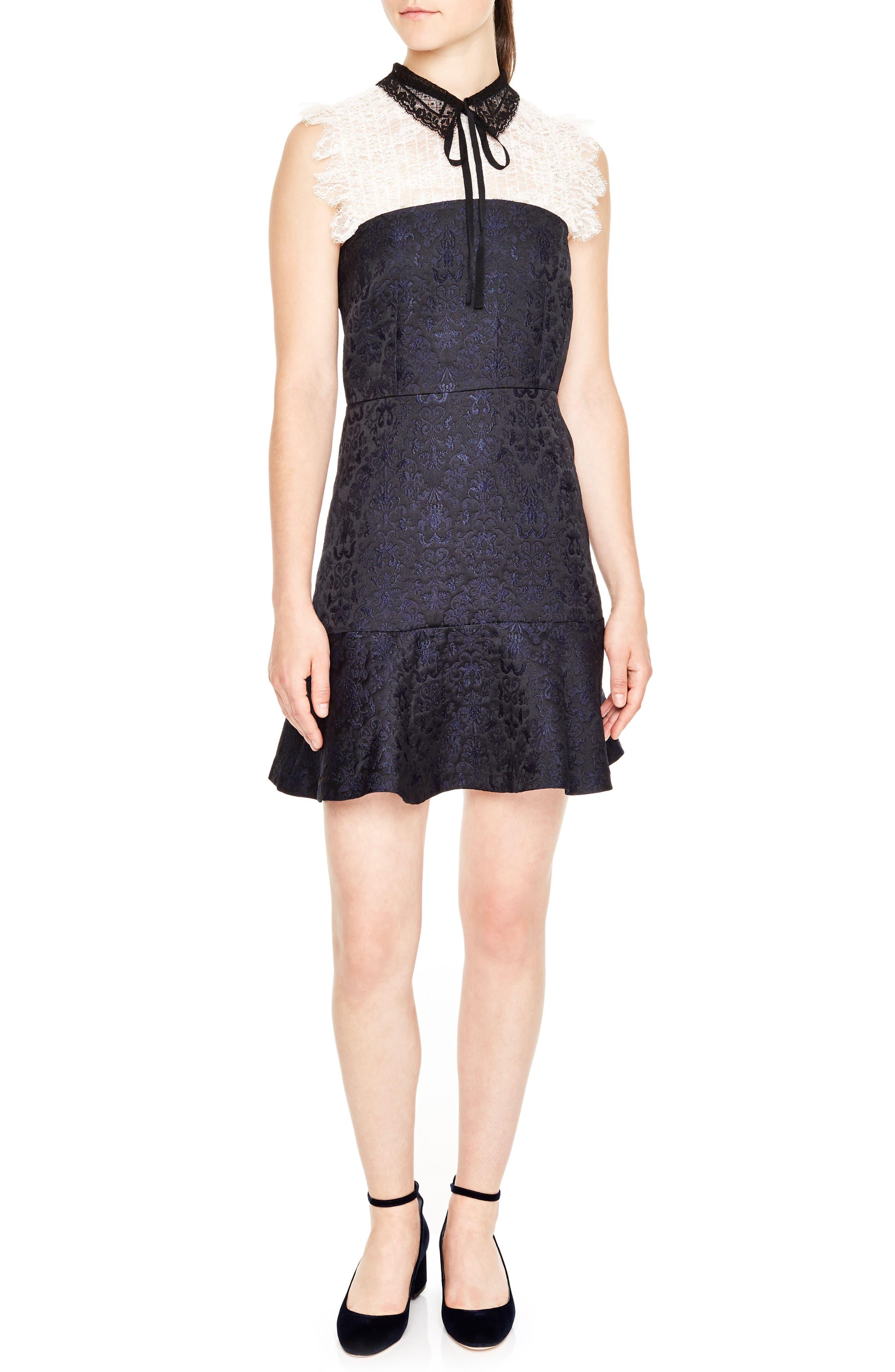 Lace Yoke Jacquard A-Line Dress,                             Main thumbnail 1, color,                             001