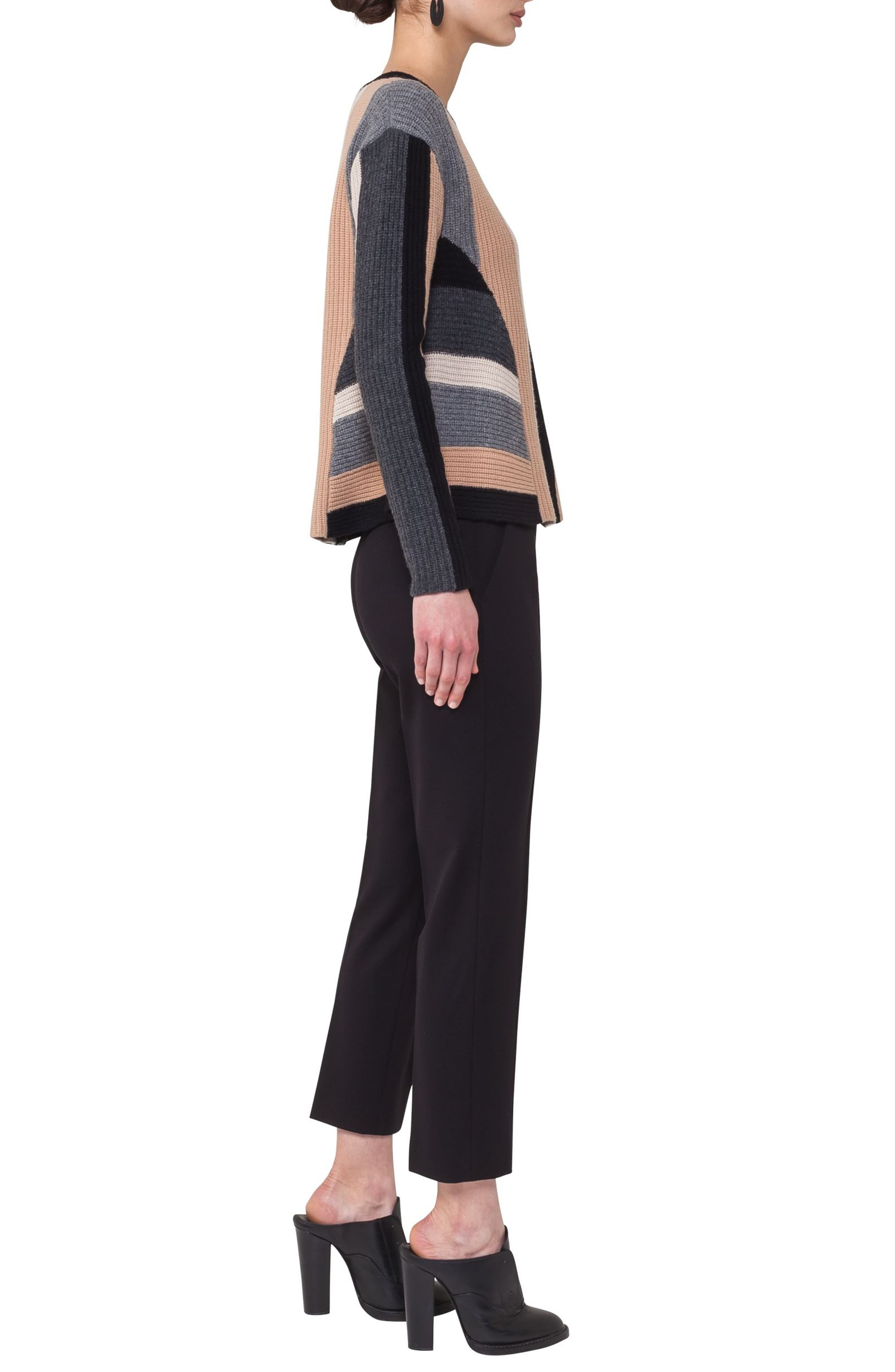 Multicolor Stripe Wool & Cashmere Pullover,                             Alternate thumbnail 3, color,                             200