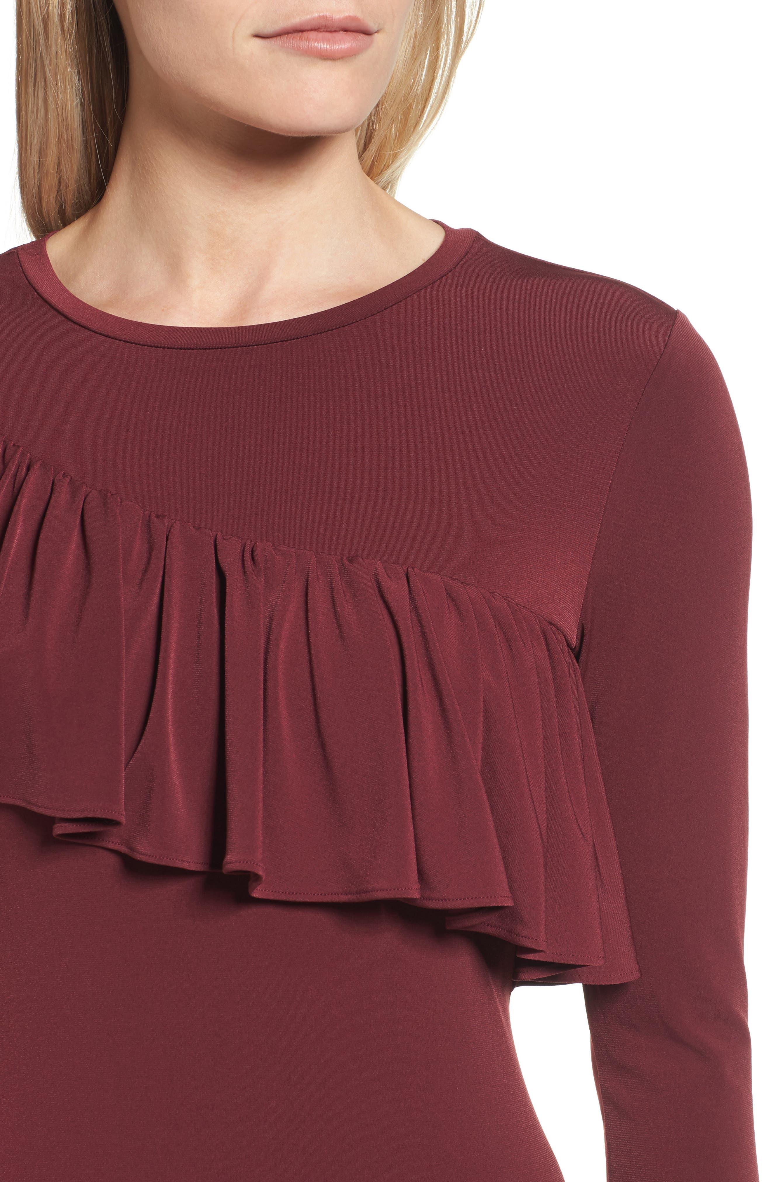 Long Sleeve Ruffle Dress,                             Alternate thumbnail 4, color,                             633