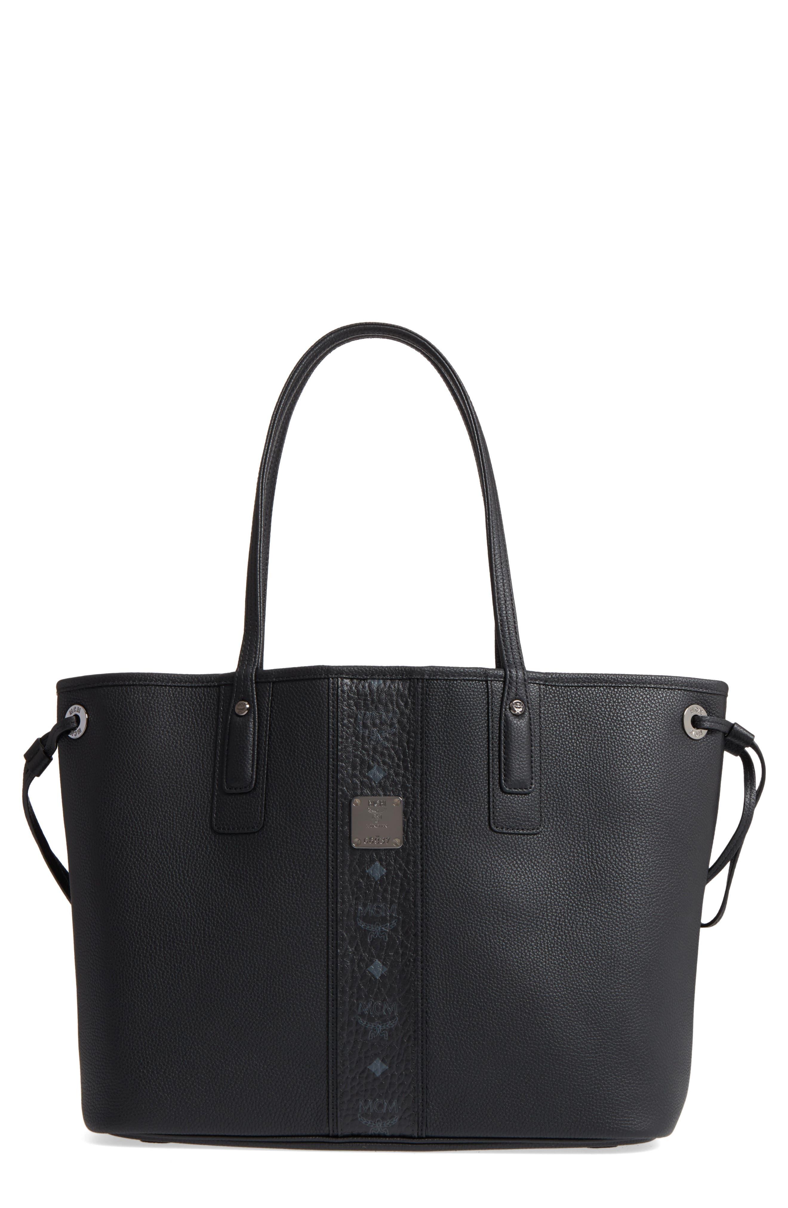 Medium Liz Reversible Visetos Leather Shopper,                             Main thumbnail 1, color,                             BLACK