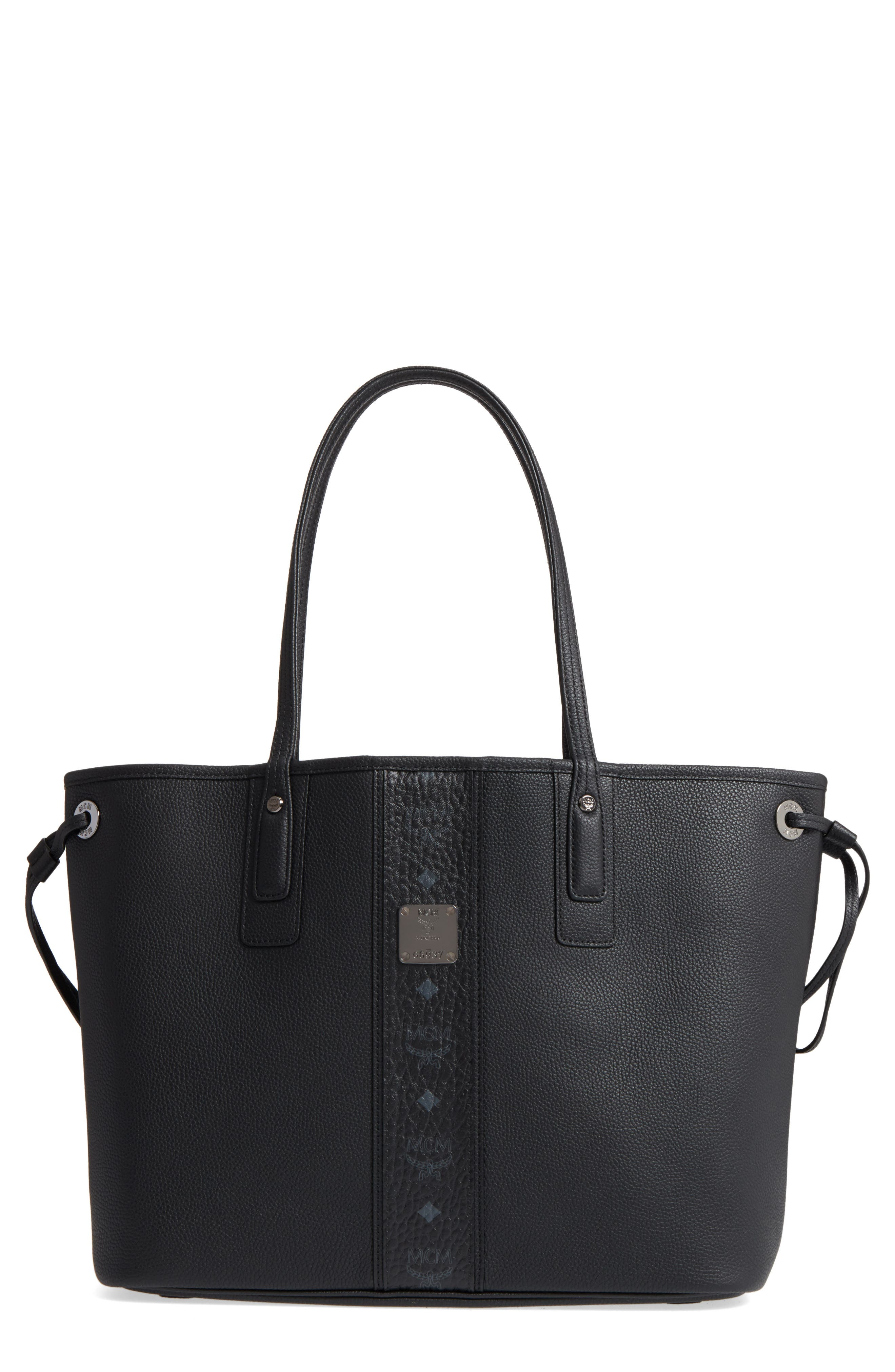 Medium Liz Reversible Visetos Leather Shopper,                         Main,                         color, BLACK