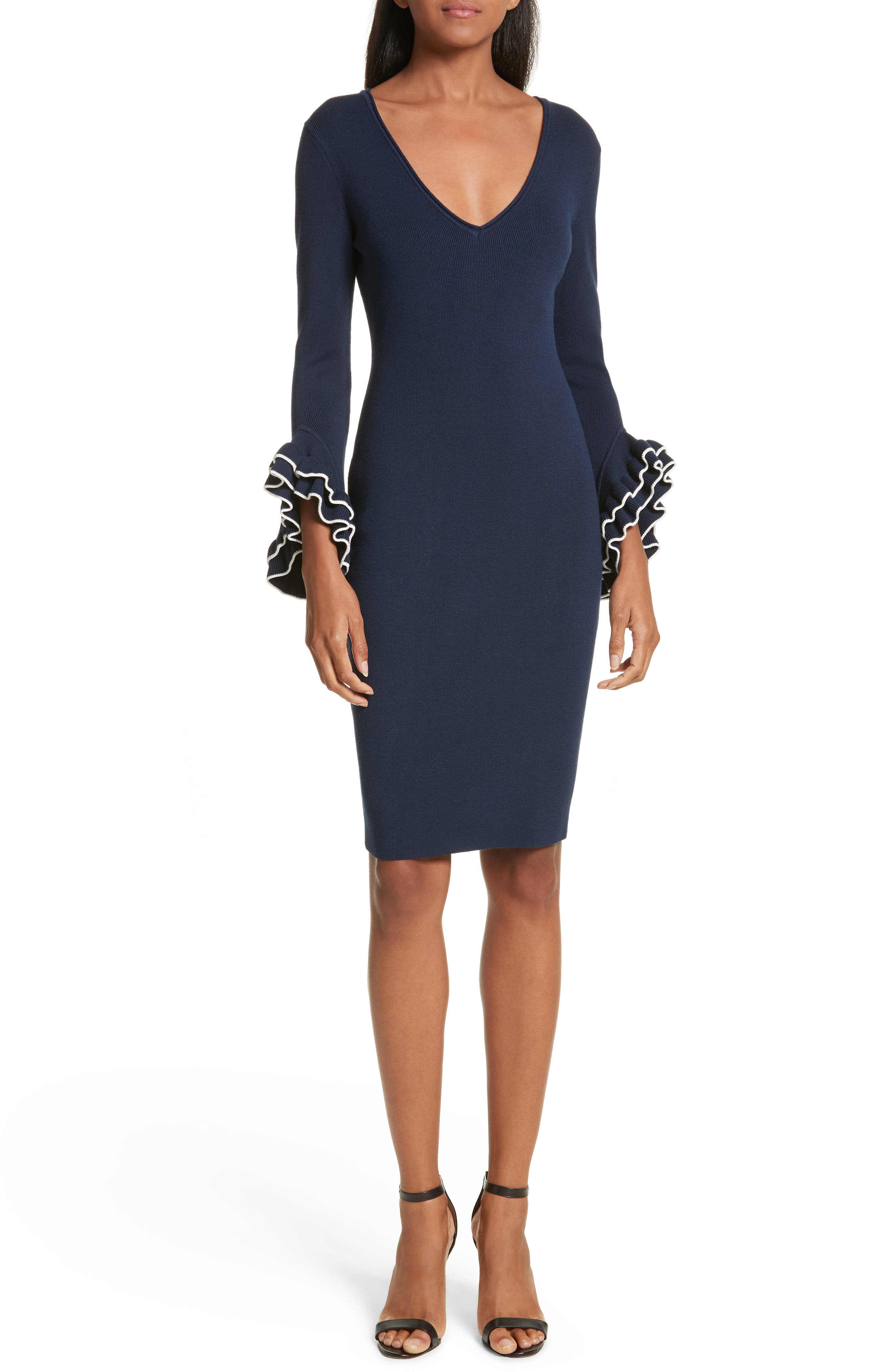 Ruffle Sleeve Sheath Dress,                             Main thumbnail 1, color,                             473