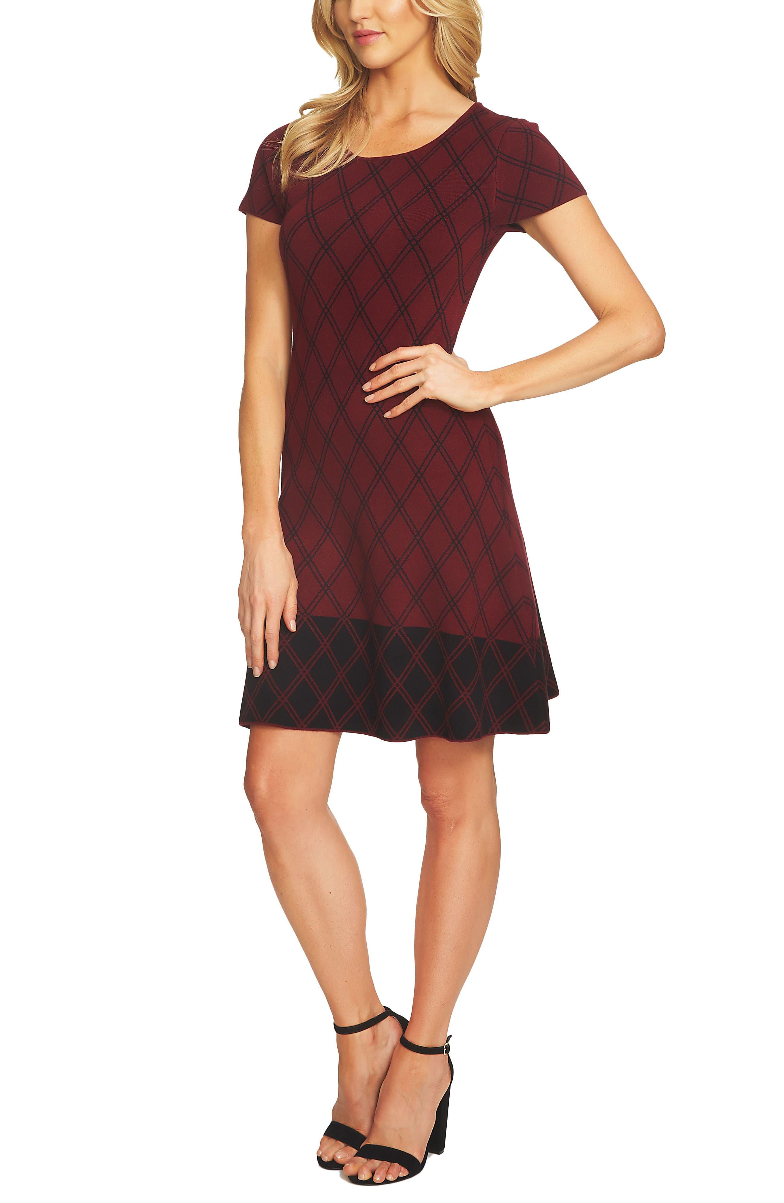 Plaid Sweater Dress,                             Main thumbnail 1, color,                             619
