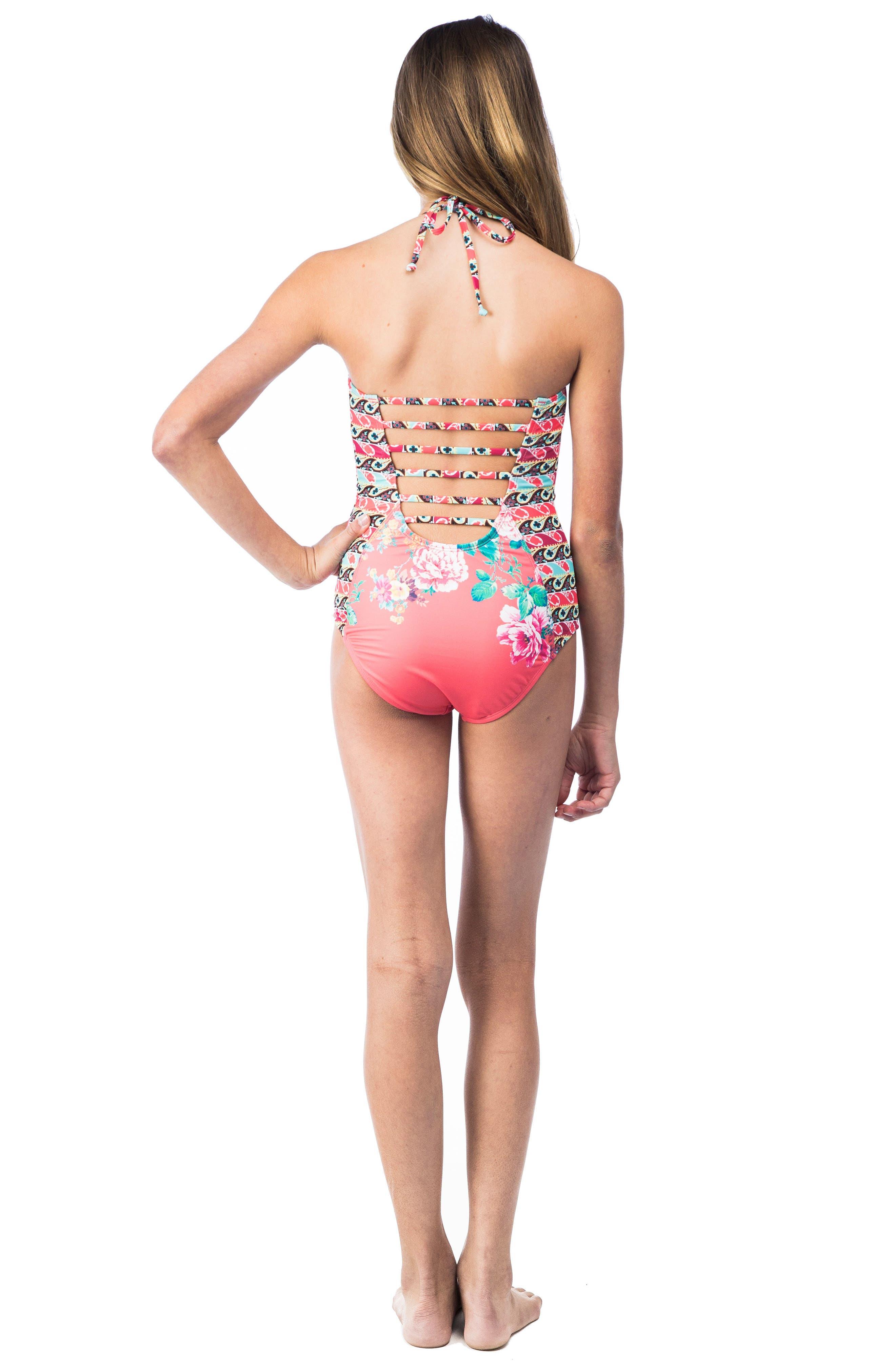 HOBIE,                             Petal Pusher One-Piece Swimsuit,                             Alternate thumbnail 4, color,                             830