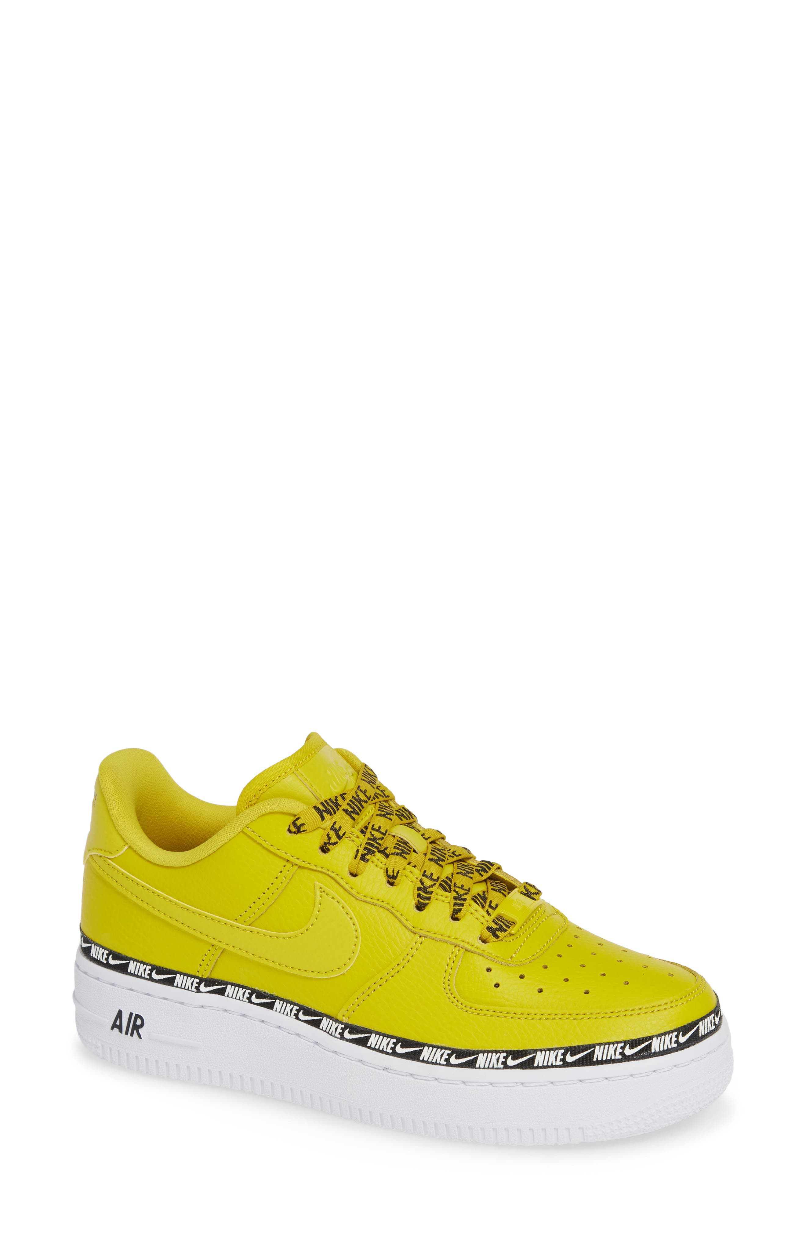 Air Force 1 '07 SE Premium Sneaker,                             Main thumbnail 1, color,                             BRIGHT CITRON/ BLACK/ WHITE
