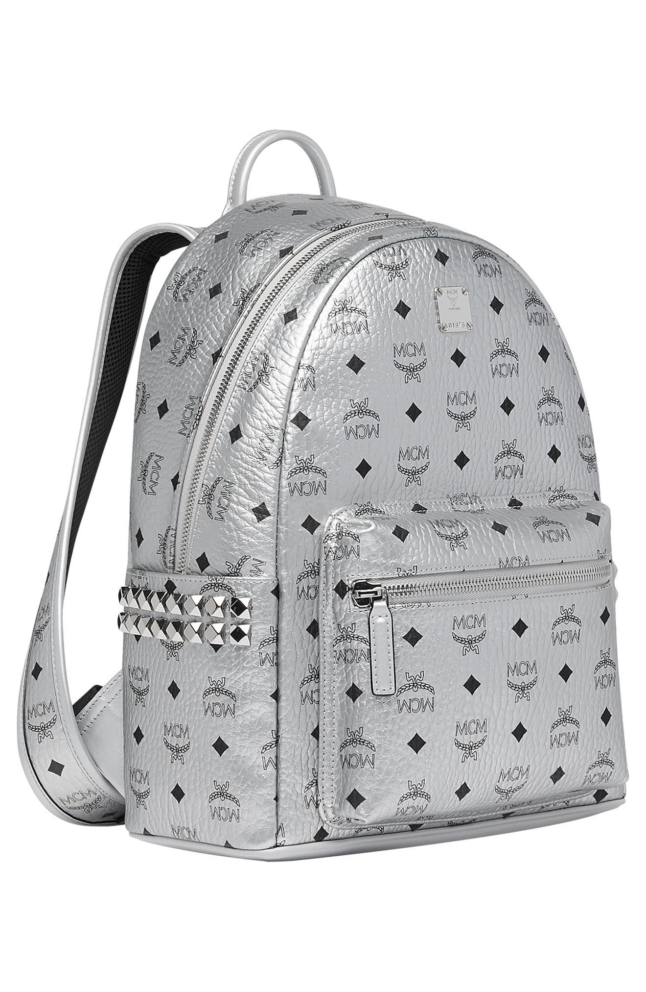 Small Stark Side Stud Metallic Faux Leather Backpack,                             Alternate thumbnail 5, color,                             BERLIN SILVER