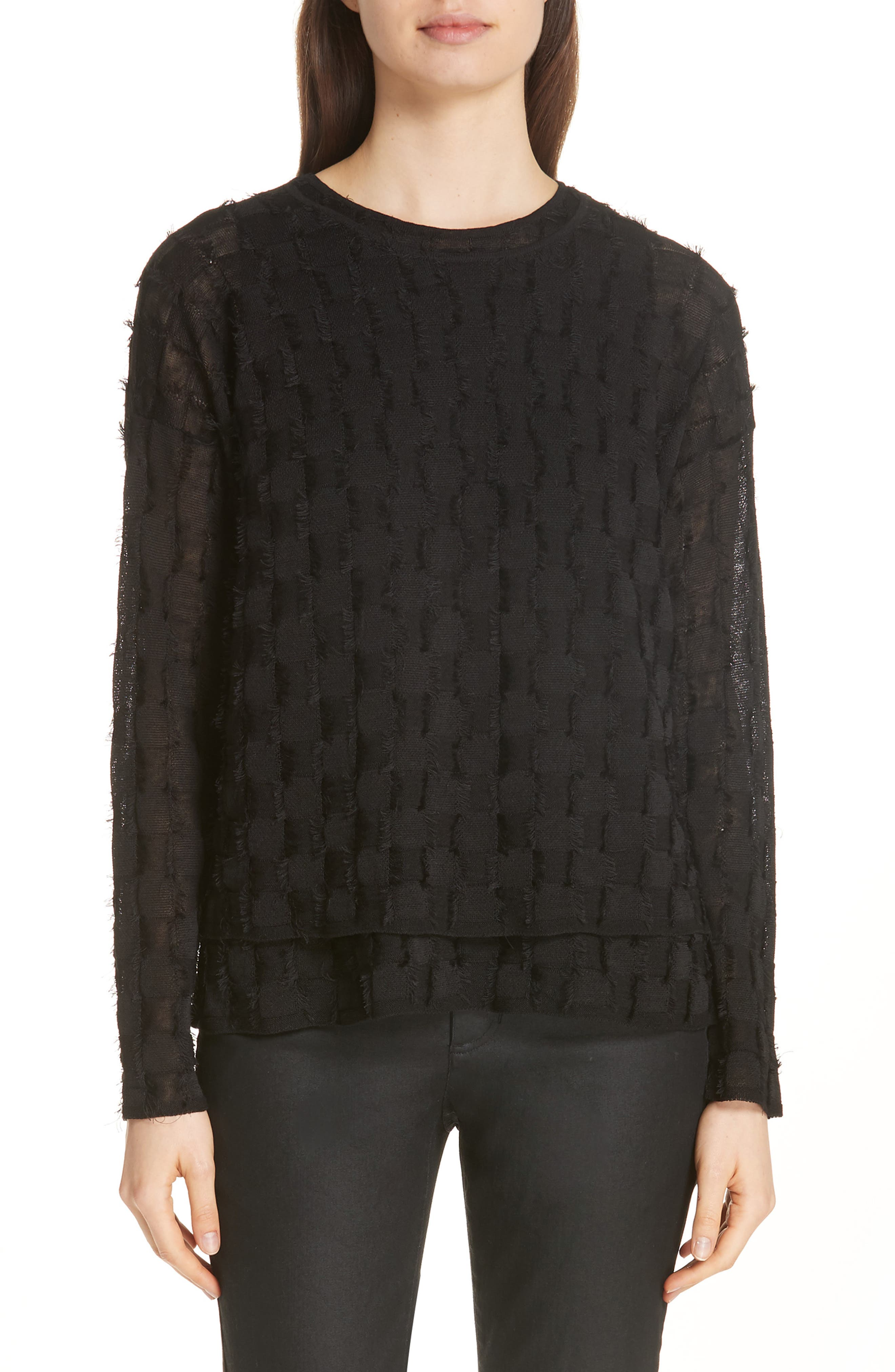 Fringe Knit Sweater,                             Main thumbnail 1, color,                             001