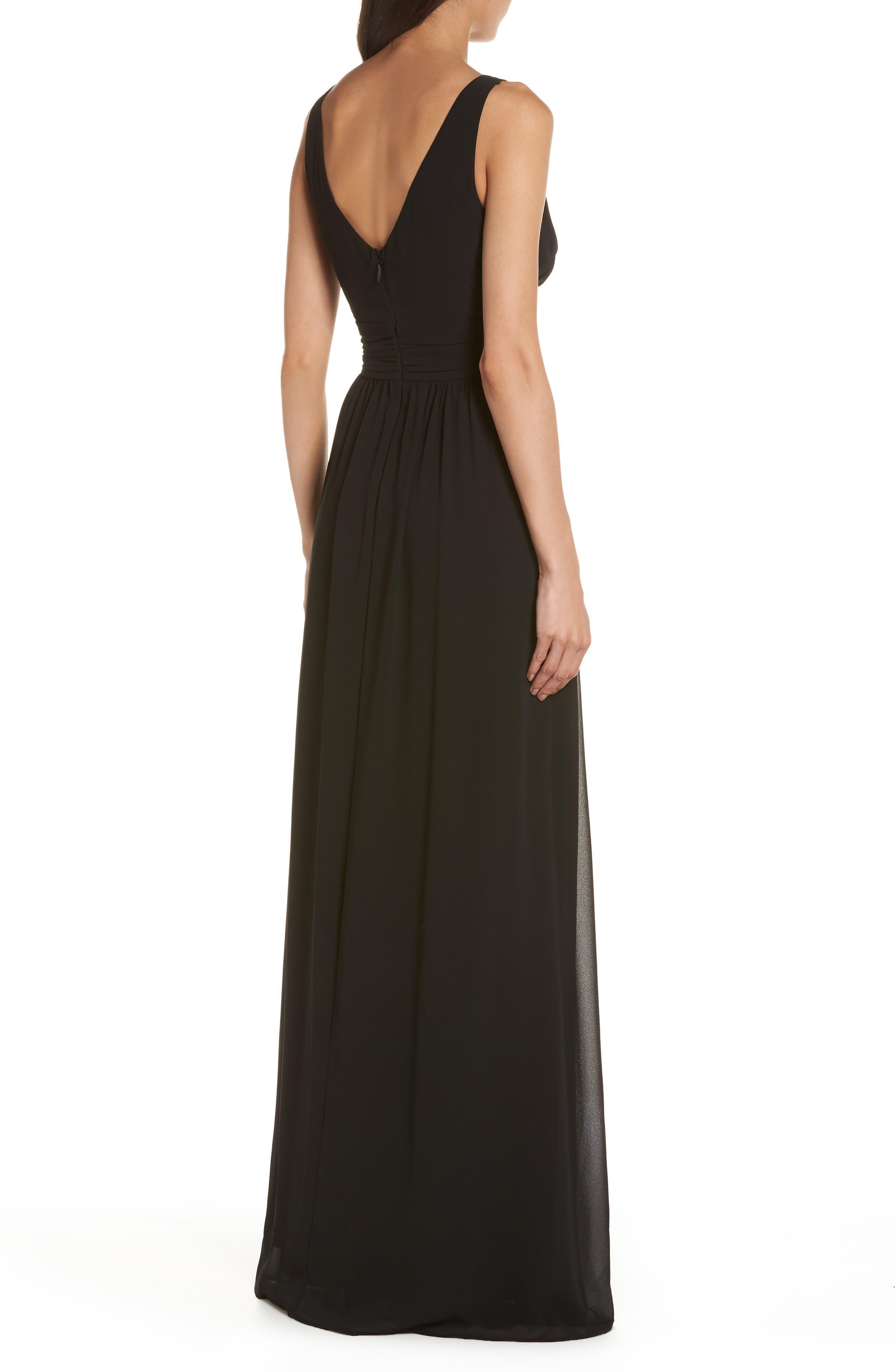 V-Neck Chiffon Gown,                             Alternate thumbnail 2, color,                             BLACK