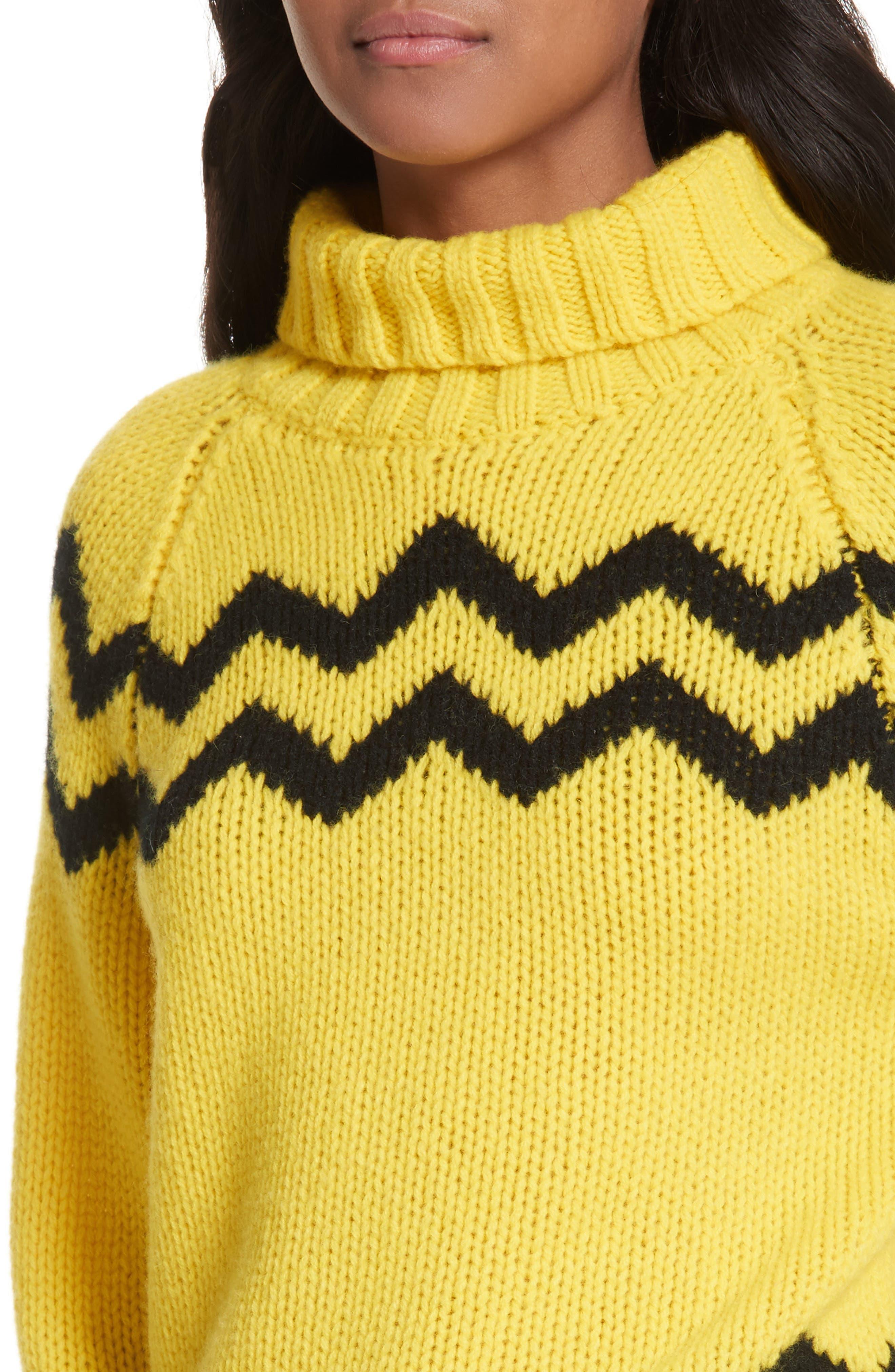 Chunky Intarsia Turtleneck Sweater,                             Alternate thumbnail 4, color,                             750