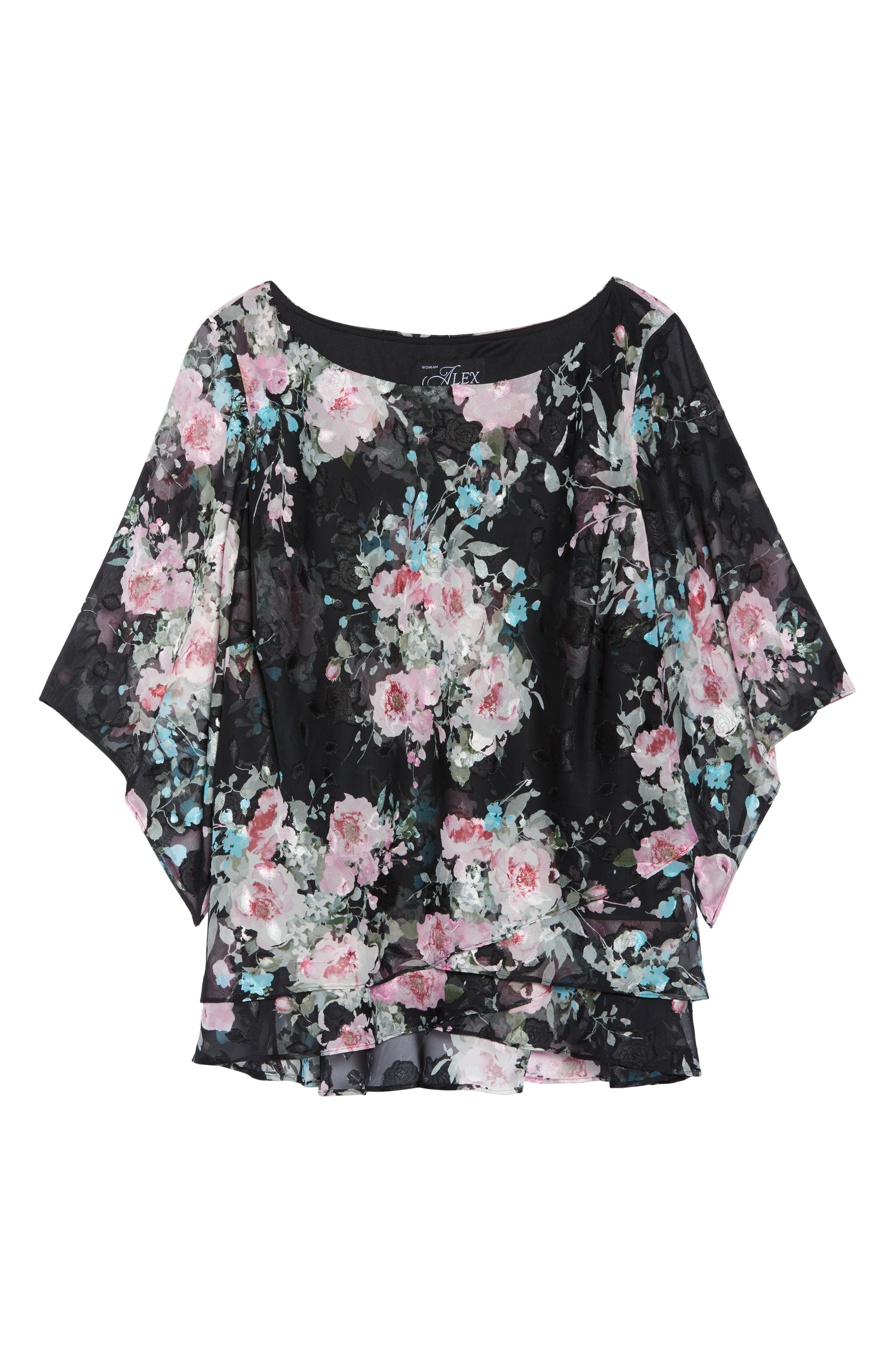ALEX EVENINGS,                             Burnout Floral Blouse,                             Alternate thumbnail 6, color,                             015