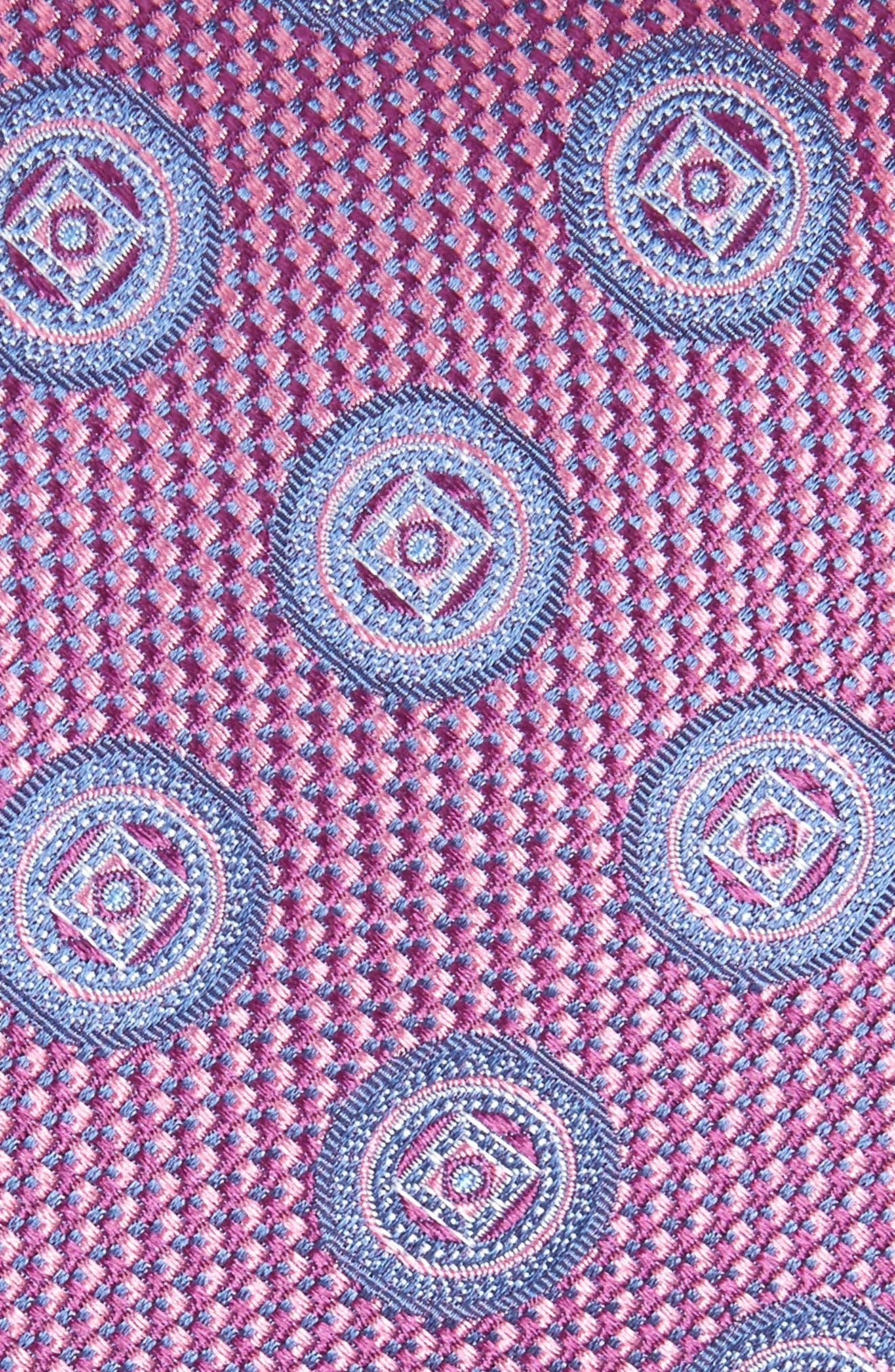 Romano Medallion Silk Tie,                             Alternate thumbnail 2, color,                             ROSE