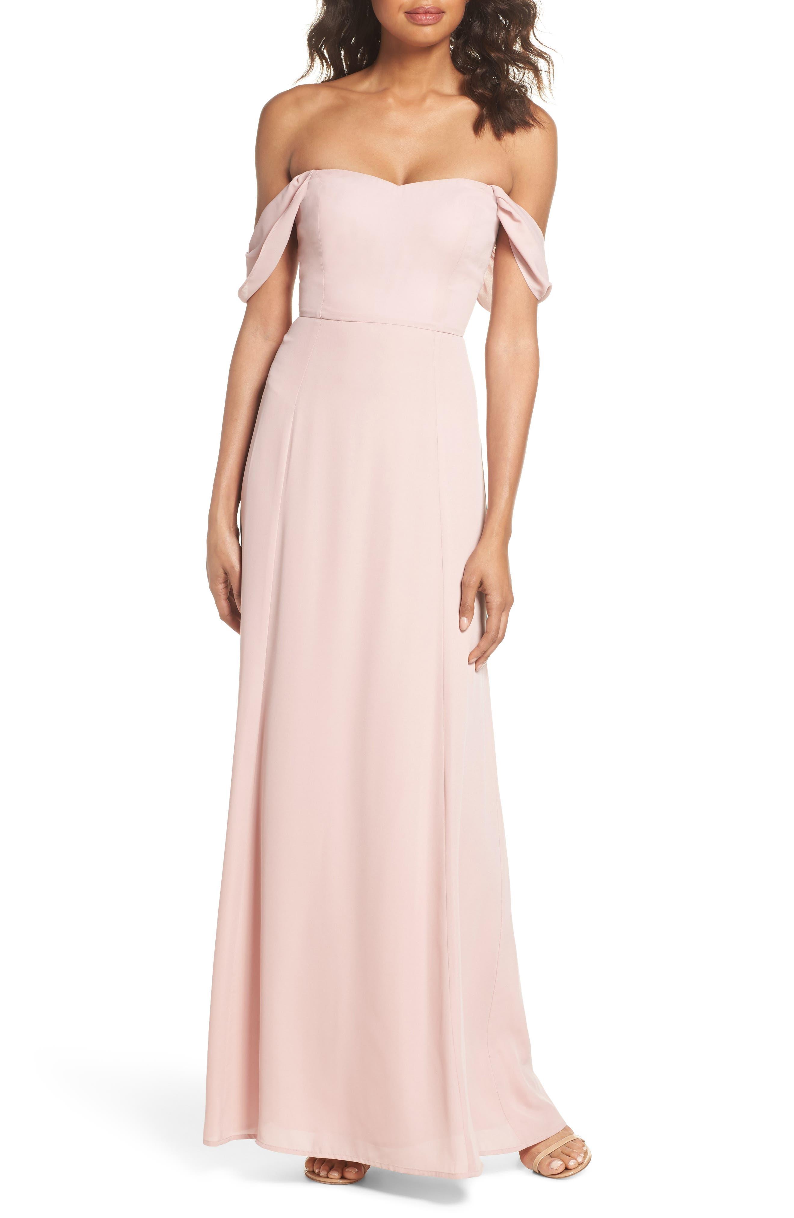 Rachel Off the Shoulder Gored Maxi Dress,                             Main thumbnail 2, color,