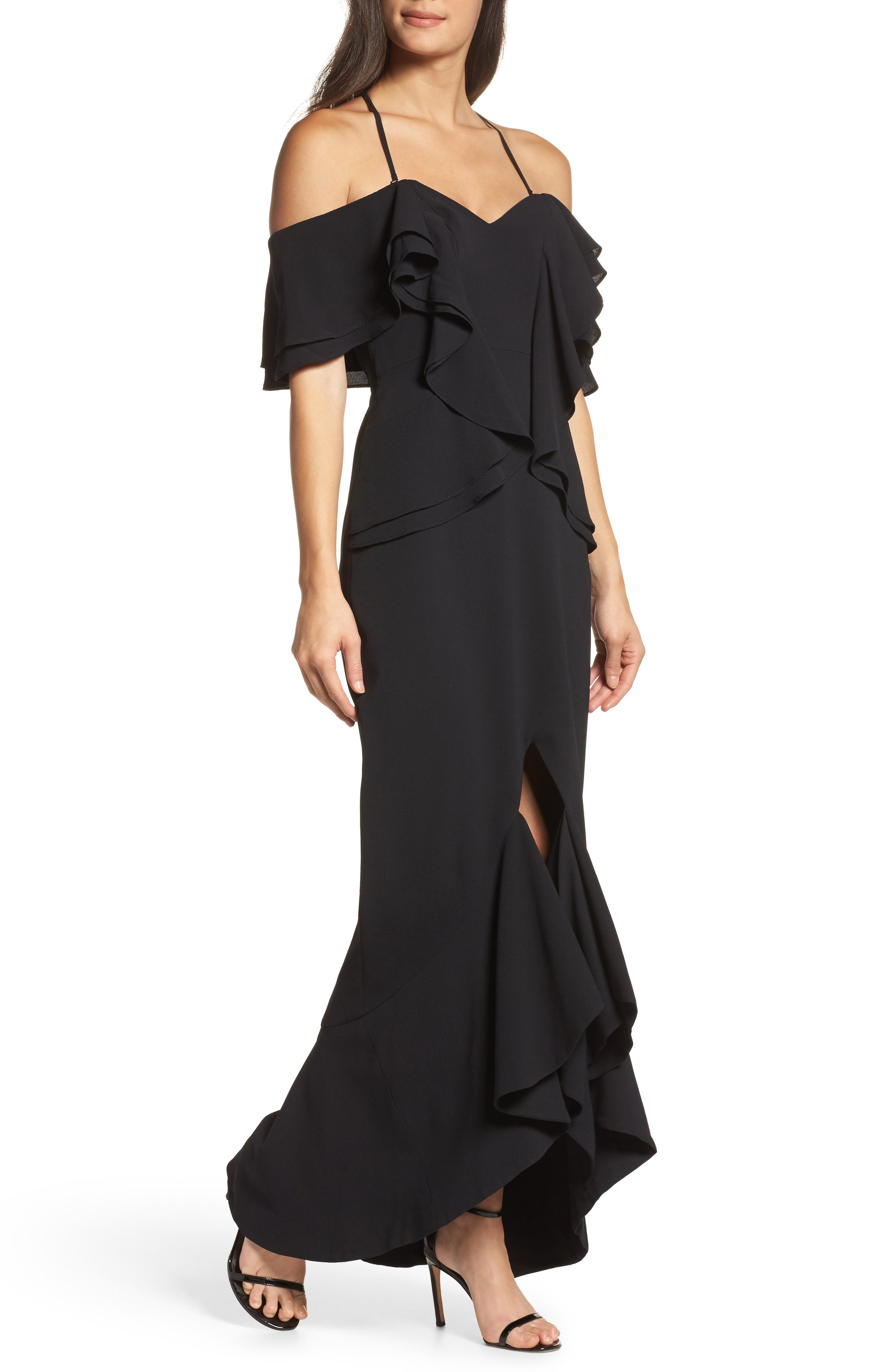 Covet Ruffle Off the Shoulder Gown,                             Main thumbnail 1, color,                             001