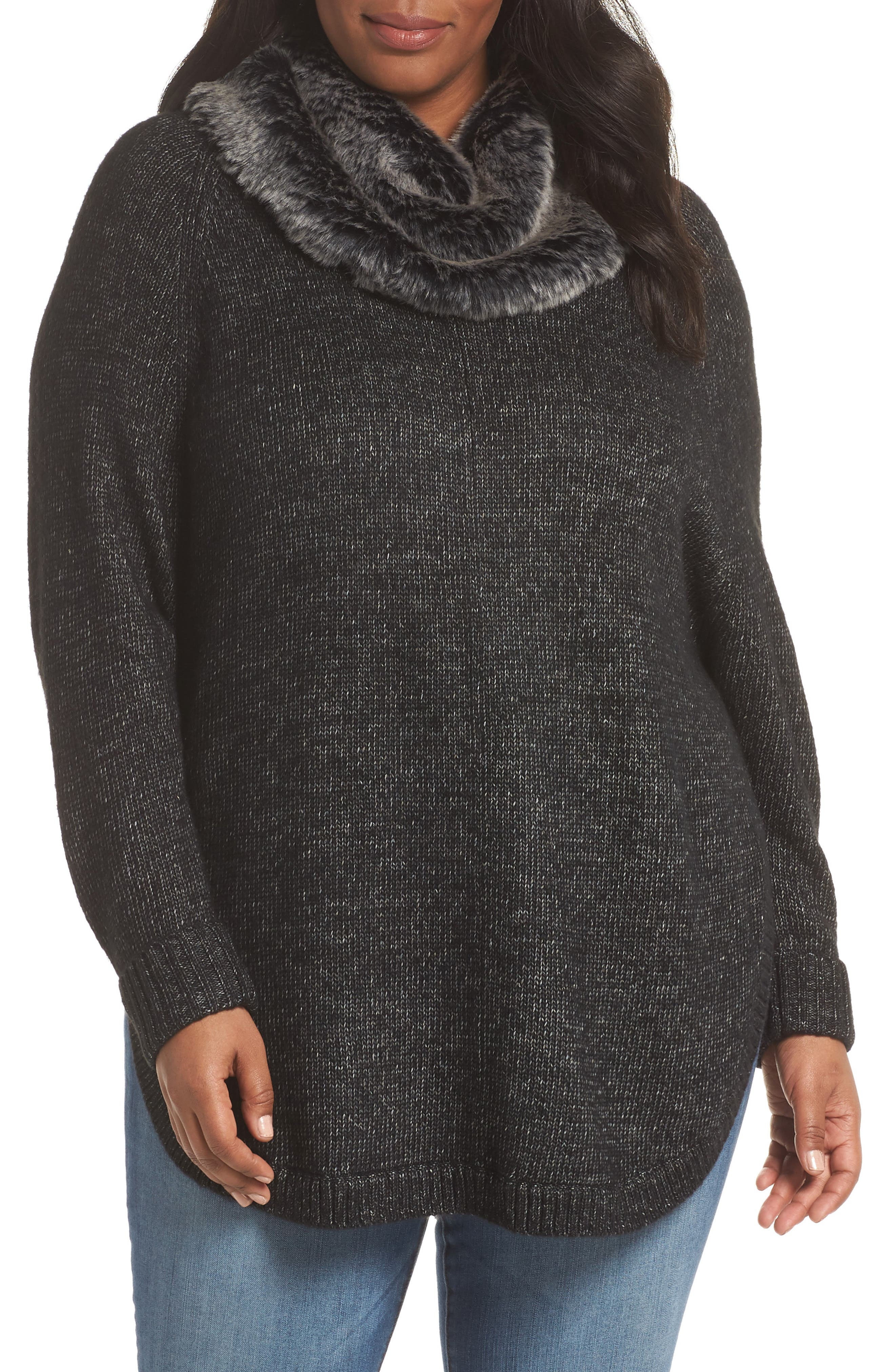 SEJOUR Curved Hem Sweater with Detachable Faux Fur Collar, Main, color, BLACK HEATHER