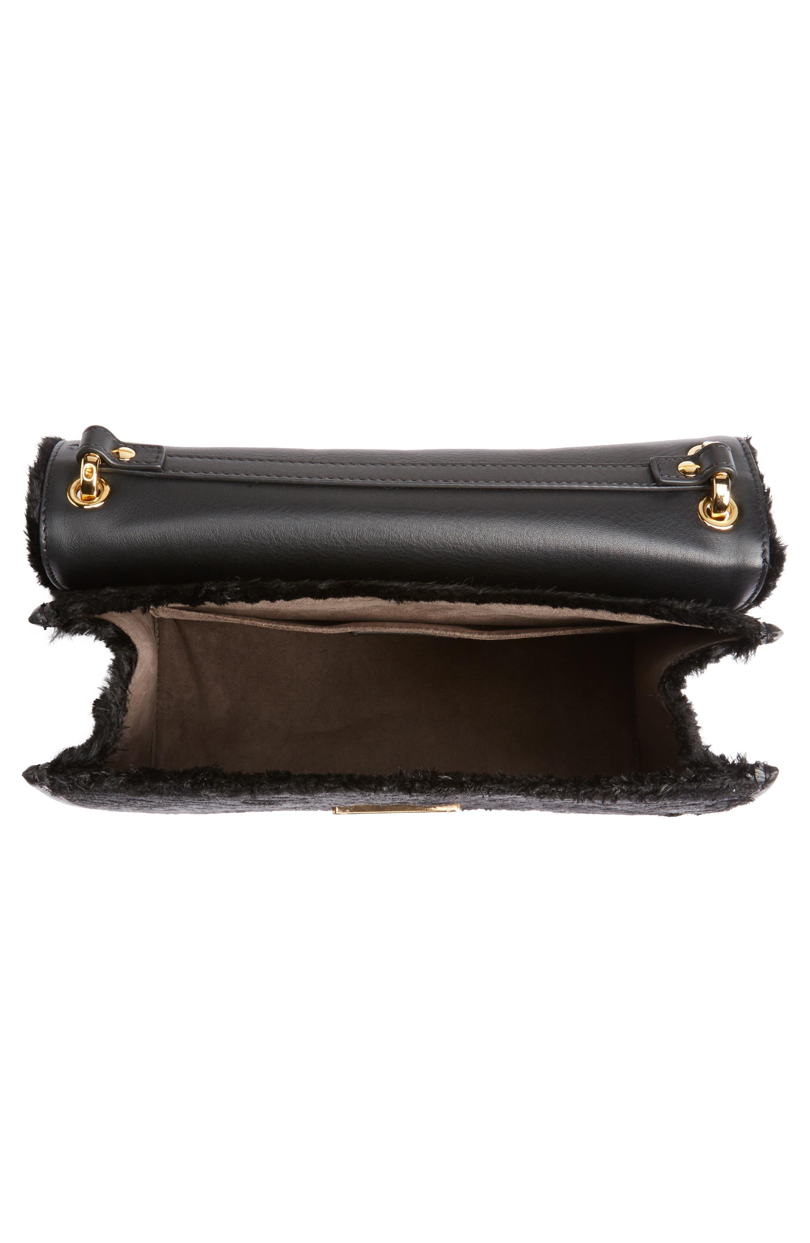 Kan I Logo Velvet Shoulder Bag,                             Alternate thumbnail 4, color,                             BLACK