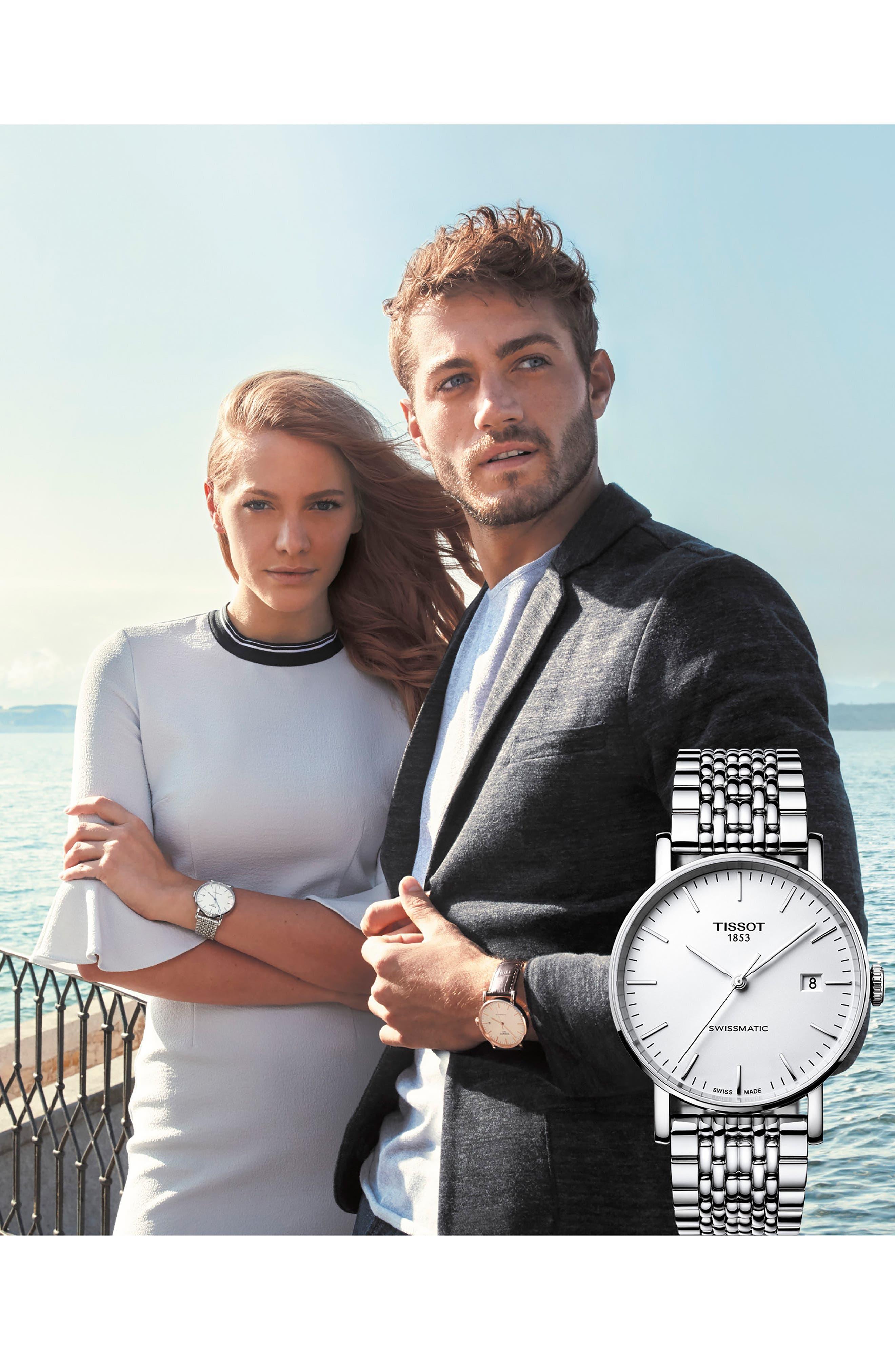 TISSOT,                             Everytime Swissmatic Automatic Bracelet Watch, 40mm,                             Alternate thumbnail 2, color,                             SILVER/ WHITE/ SILVER