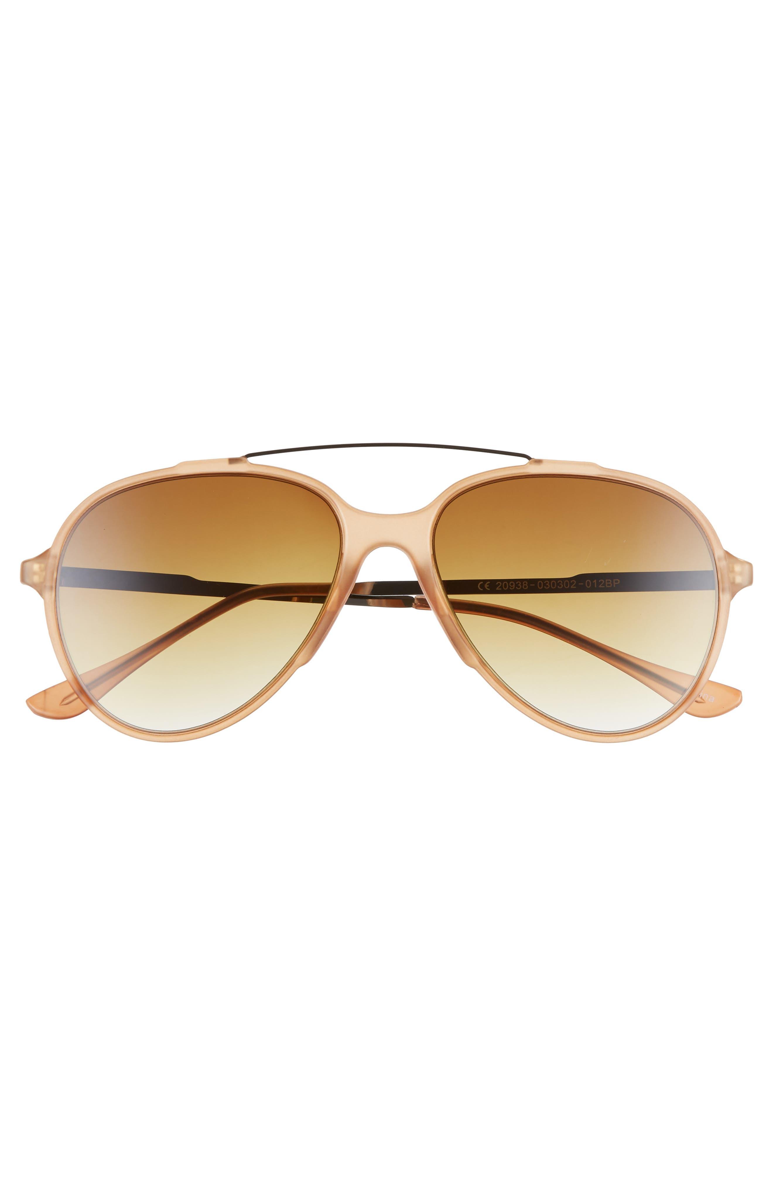 55mm Aviator Sunglasses,                             Alternate thumbnail 3, color,                             BROWN