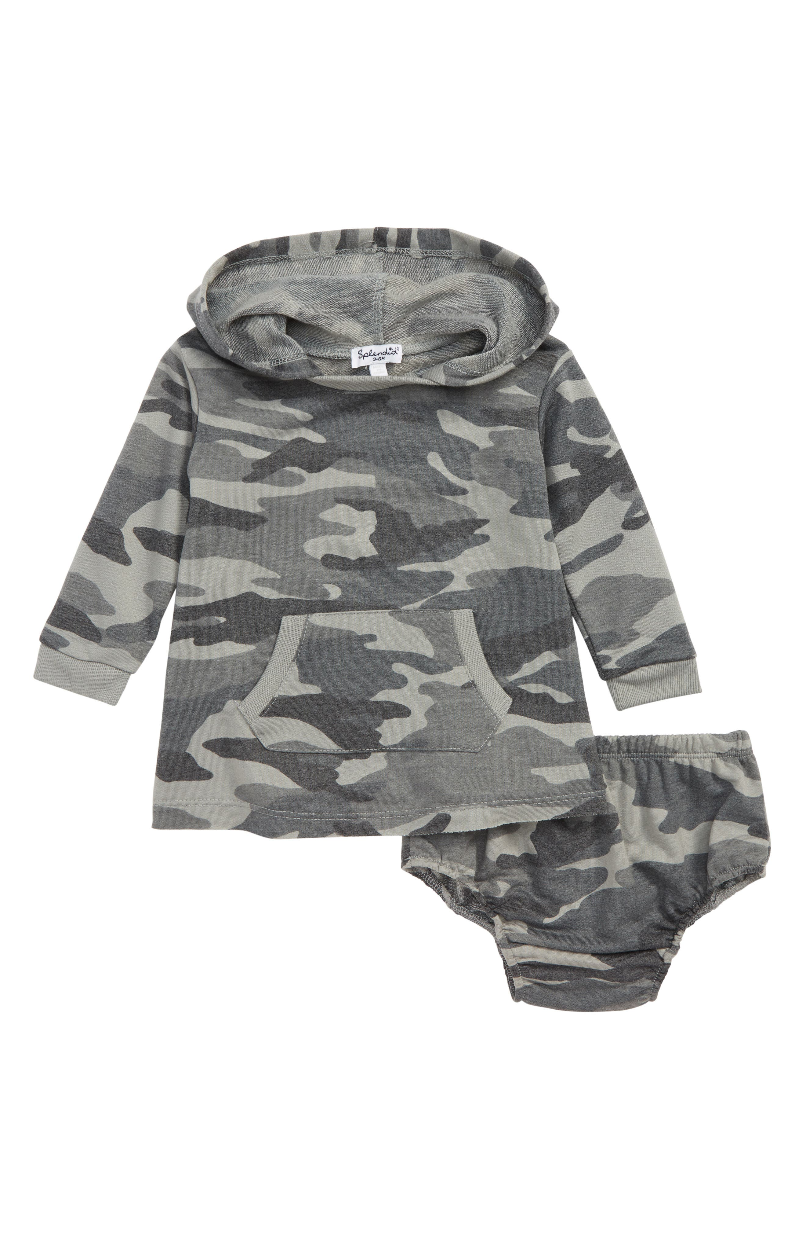 Hooded Camo Dress,                             Main thumbnail 1, color,                             DUSTY OLIVE