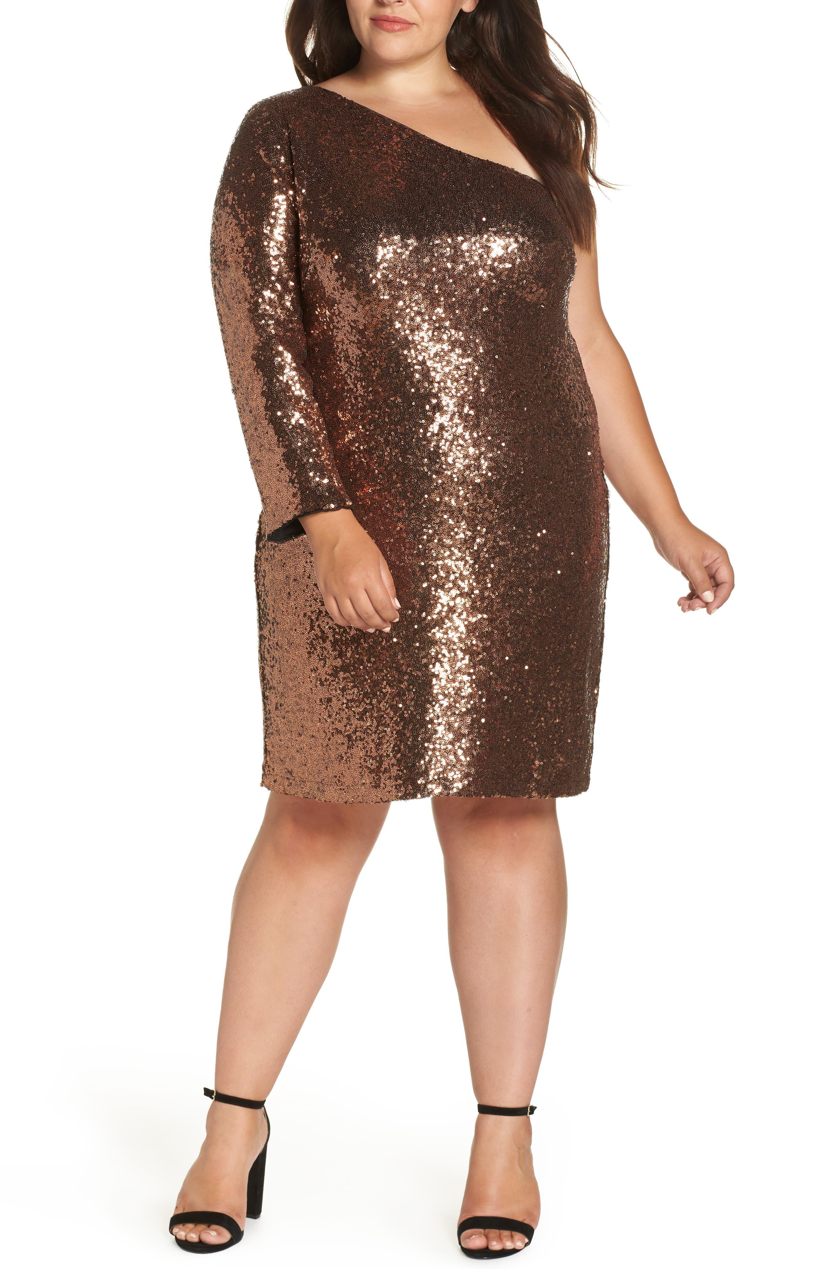 One Shoulder Sequin Party Dress,                         Main,                         color, COPPER