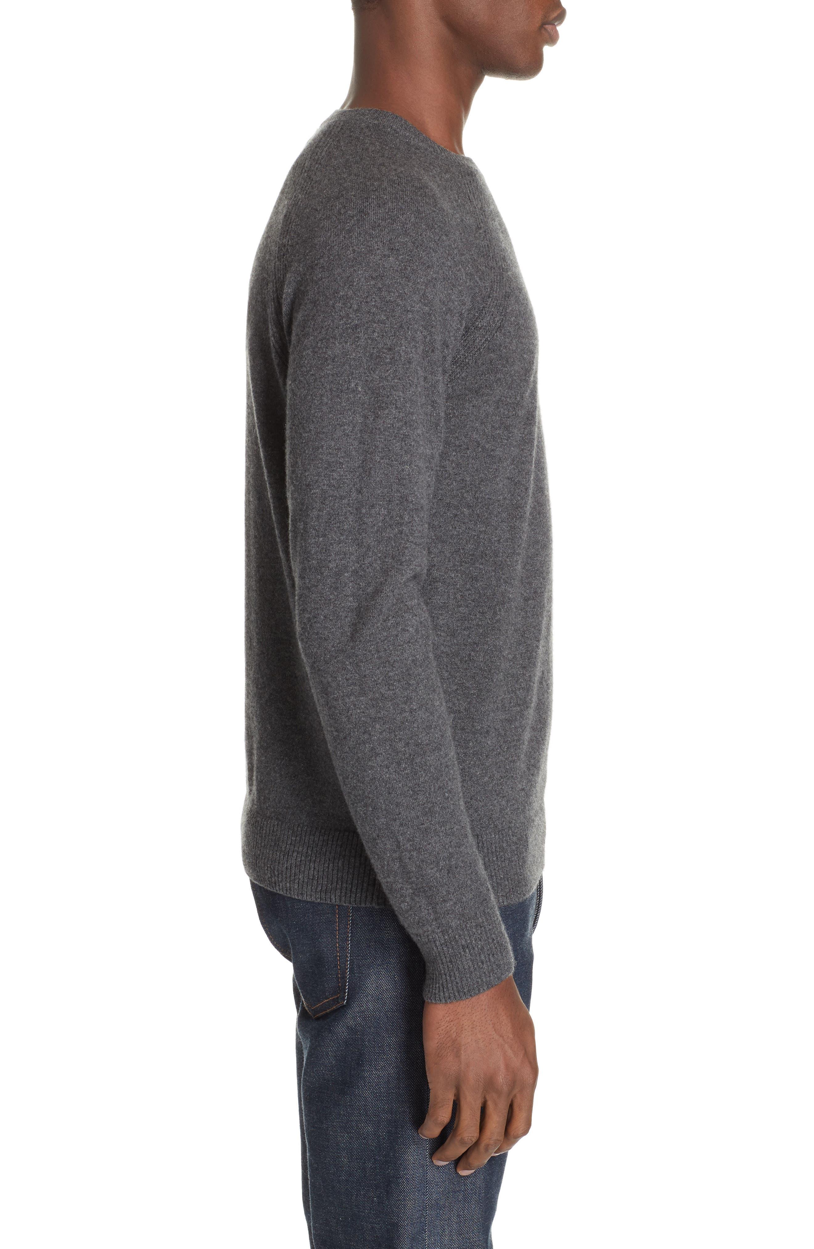 Cashmere Crewneck Sweater,                             Alternate thumbnail 3, color,                             ANTHRACITE