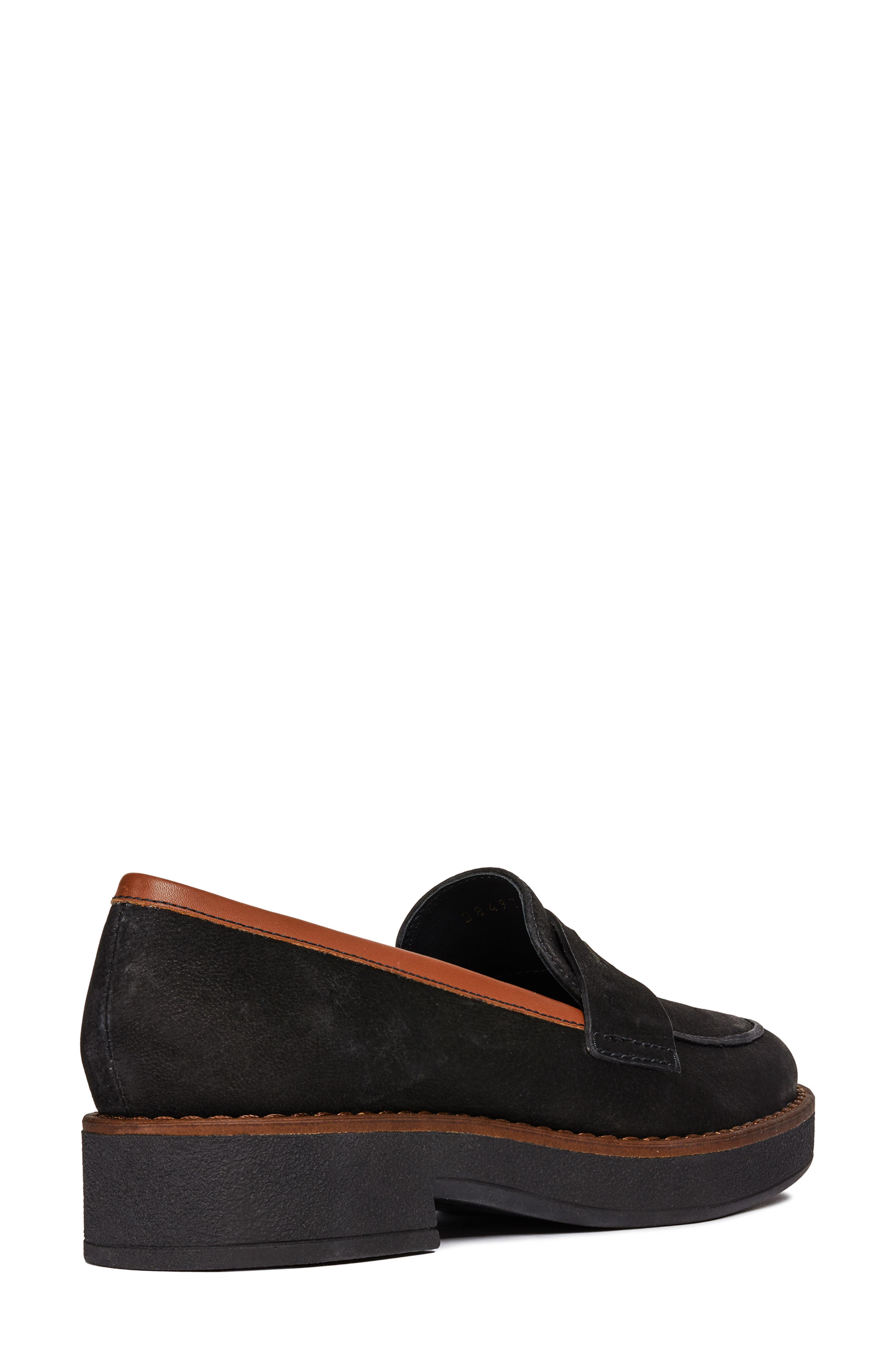 Adrya Loafer,                             Alternate thumbnail 6, color,                             BLACK/ BROWN NUBUCK LEATHER