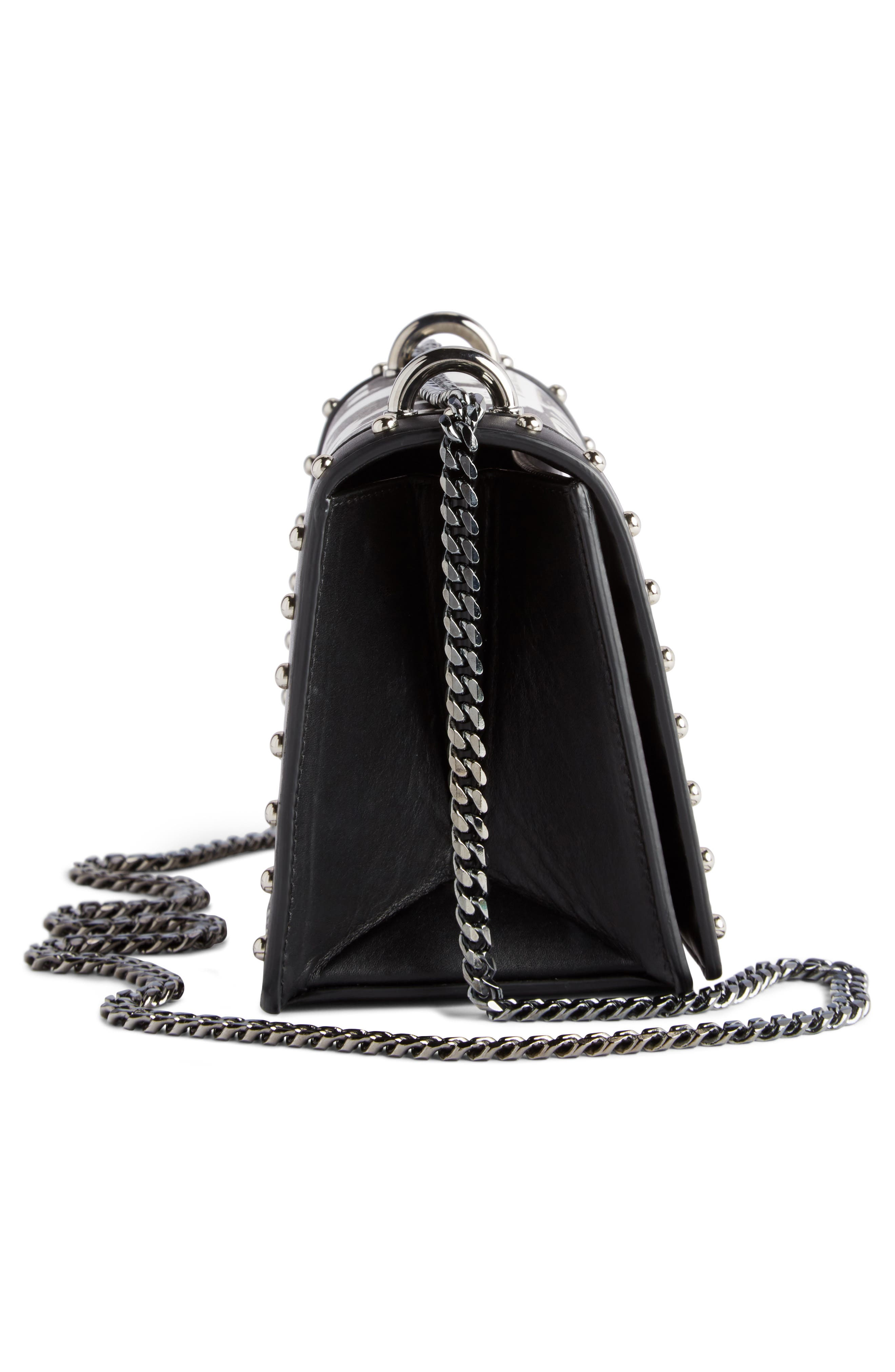 Domaine Logo Print Leather Crossbody Bag,                             Alternate thumbnail 4, color,                             001