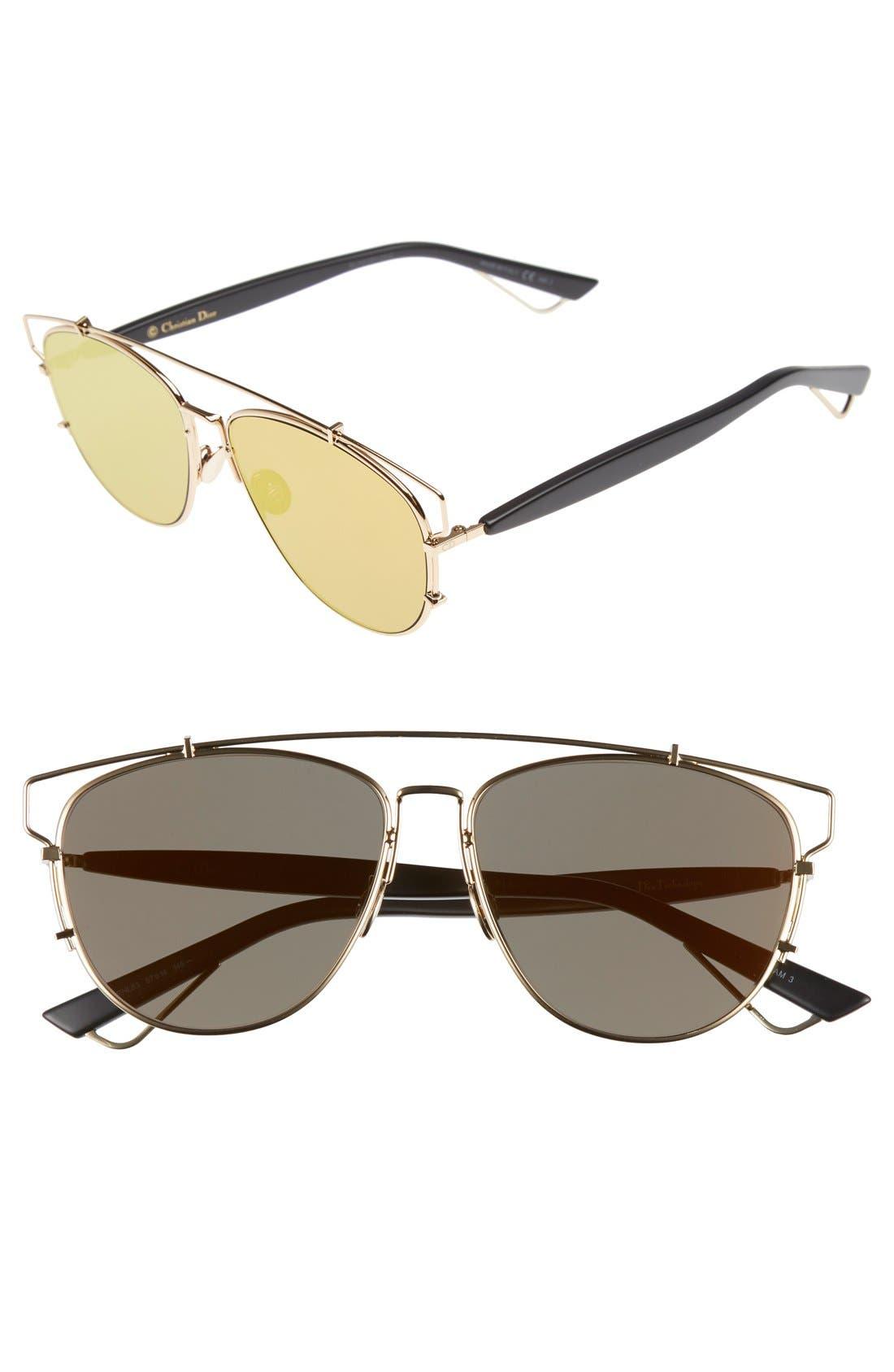 Technologic 57mm Brow Bar Sunglasses,                             Main thumbnail 3, color,