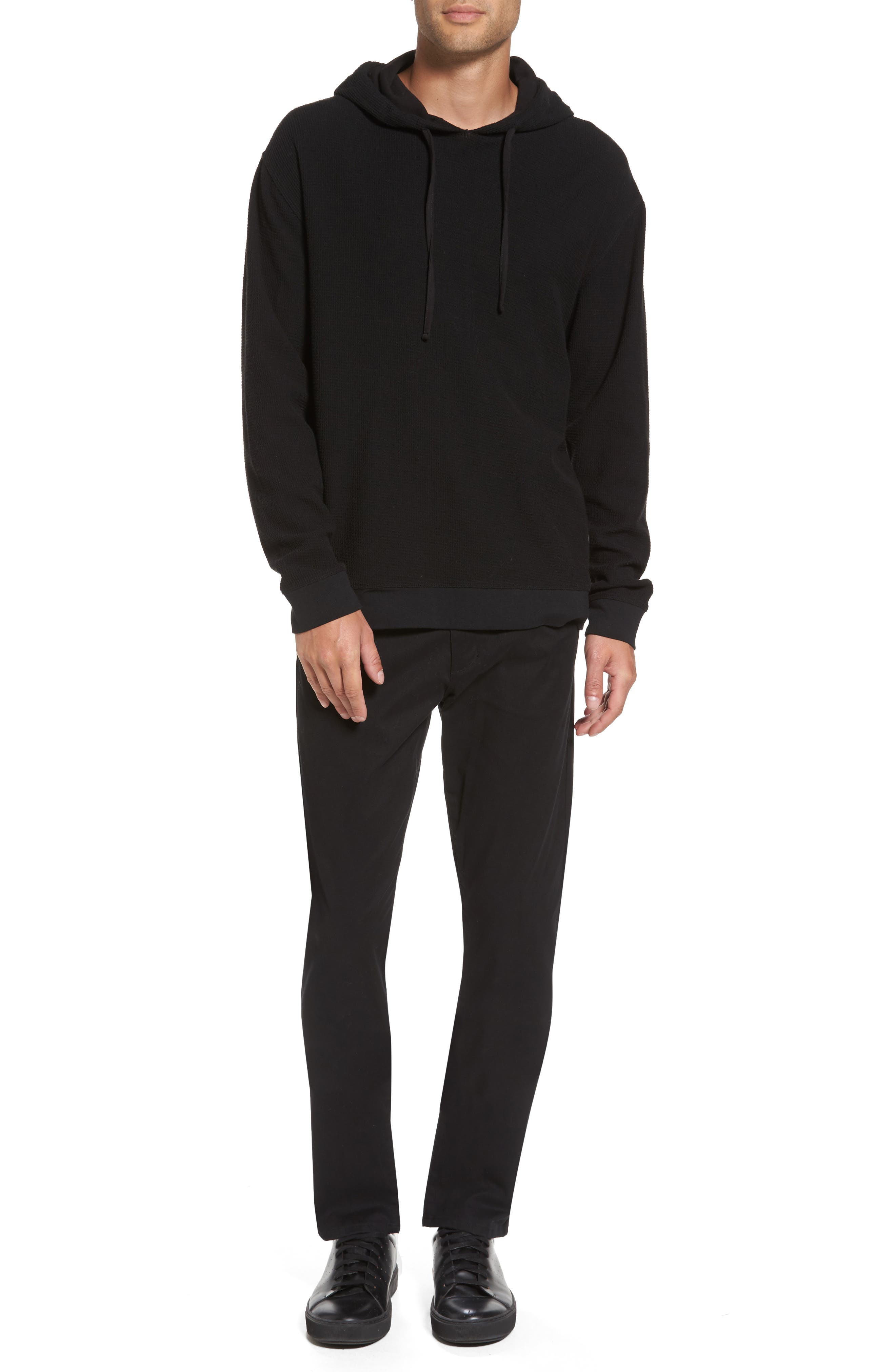 Waffle Knit Pullover Hoodie,                             Alternate thumbnail 7, color,                             001