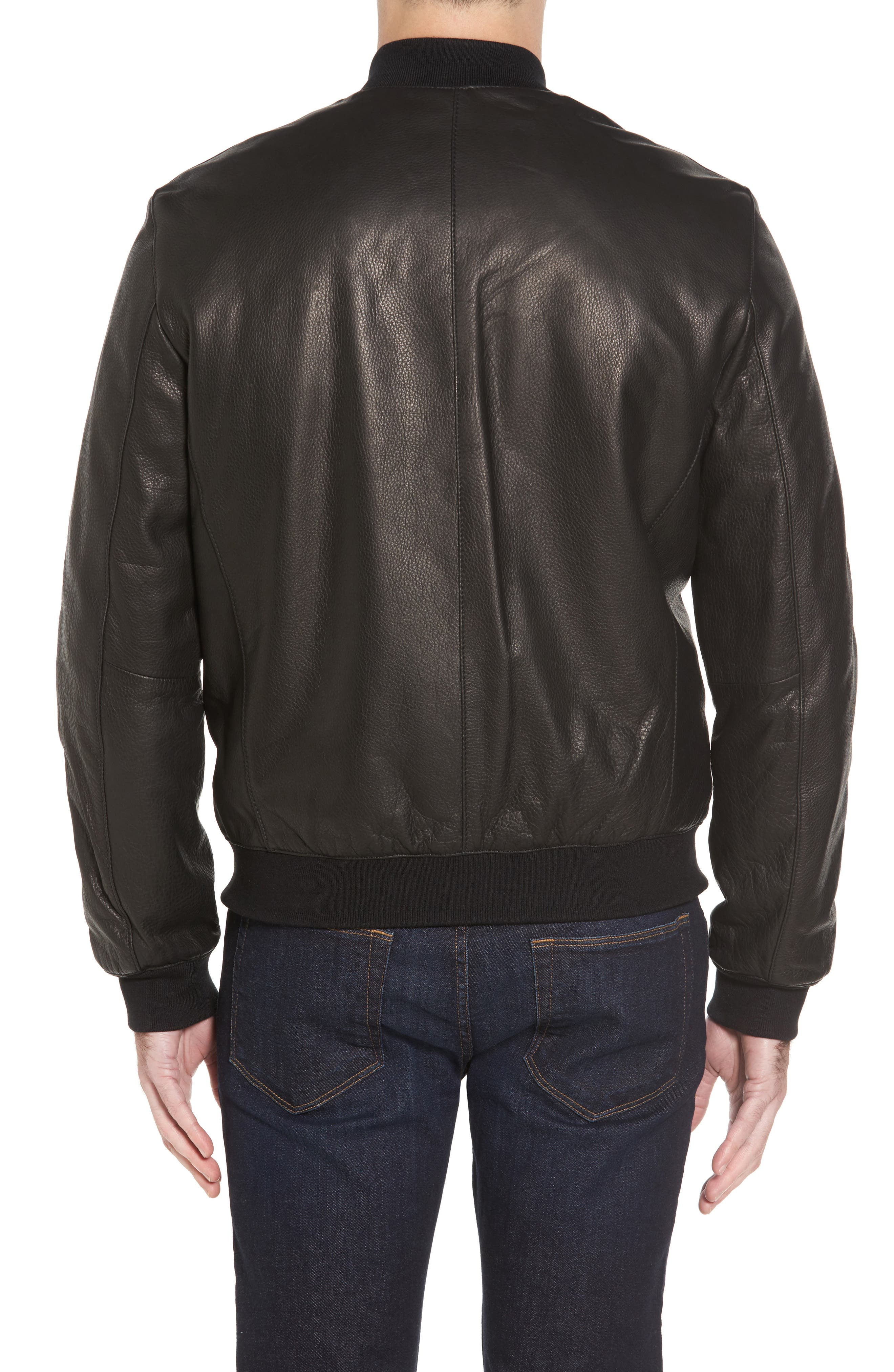 Leather Varsity Jacket,                             Alternate thumbnail 2, color,