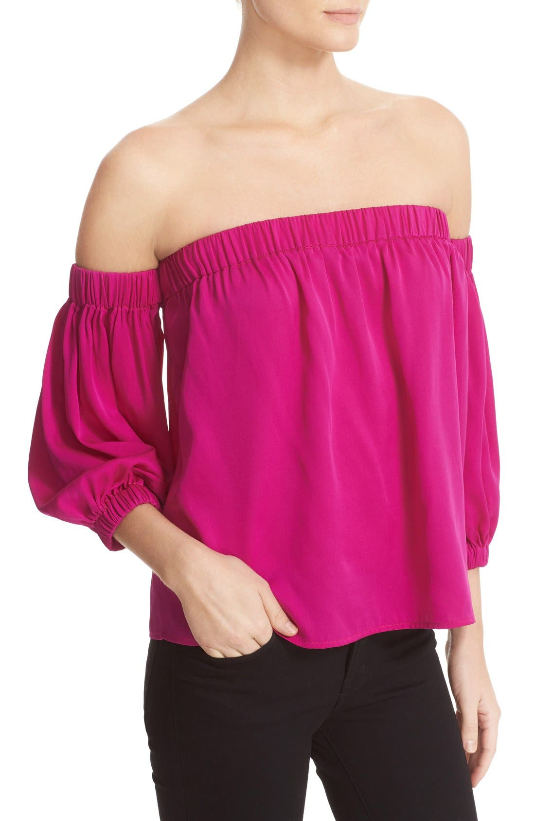 Stretch Silk Off the Shoulder Top,                             Alternate thumbnail 4, color,                             662