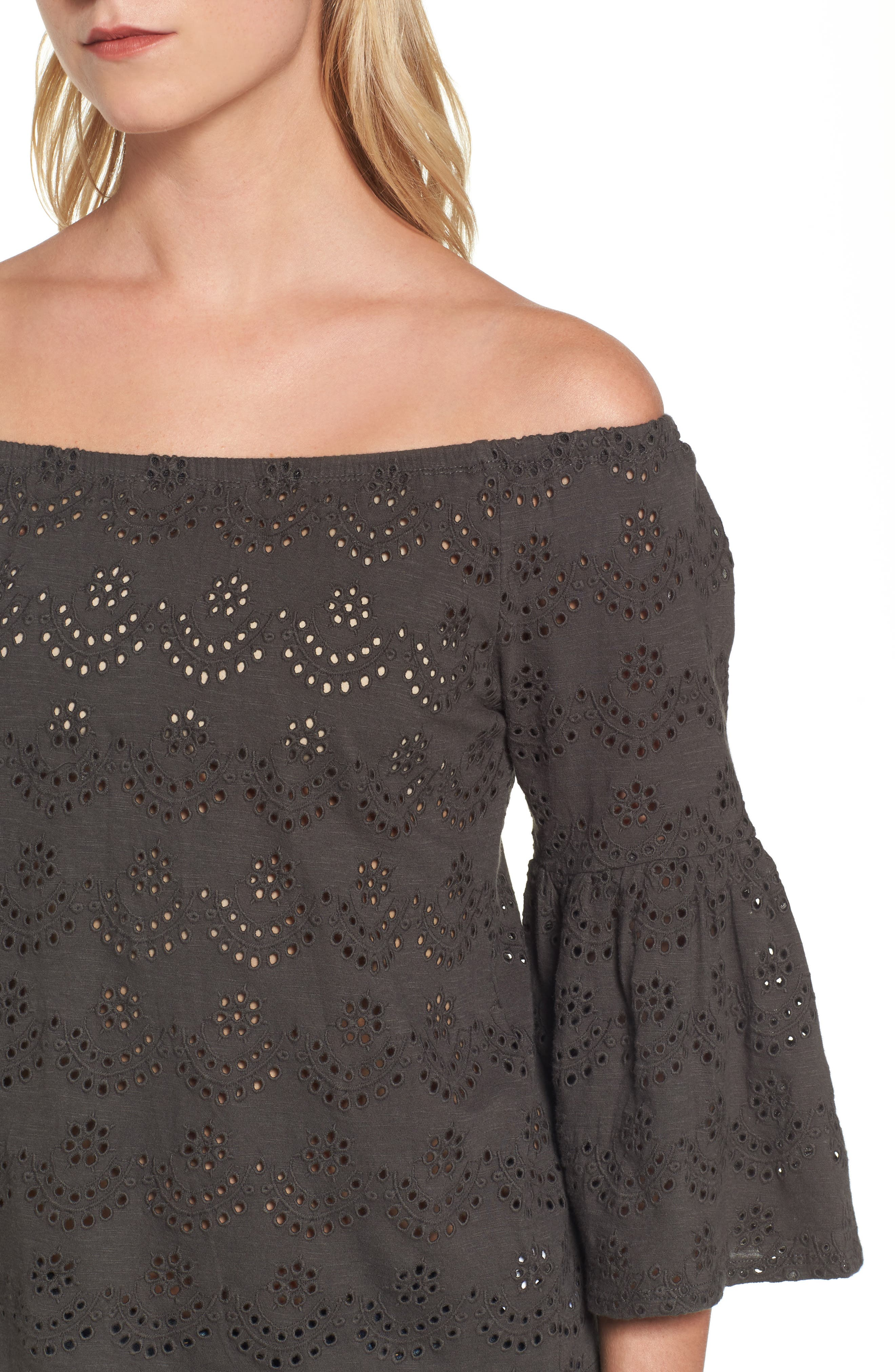 Eyelet Off the Shoulder Blouse,                             Alternate thumbnail 4, color,                             002