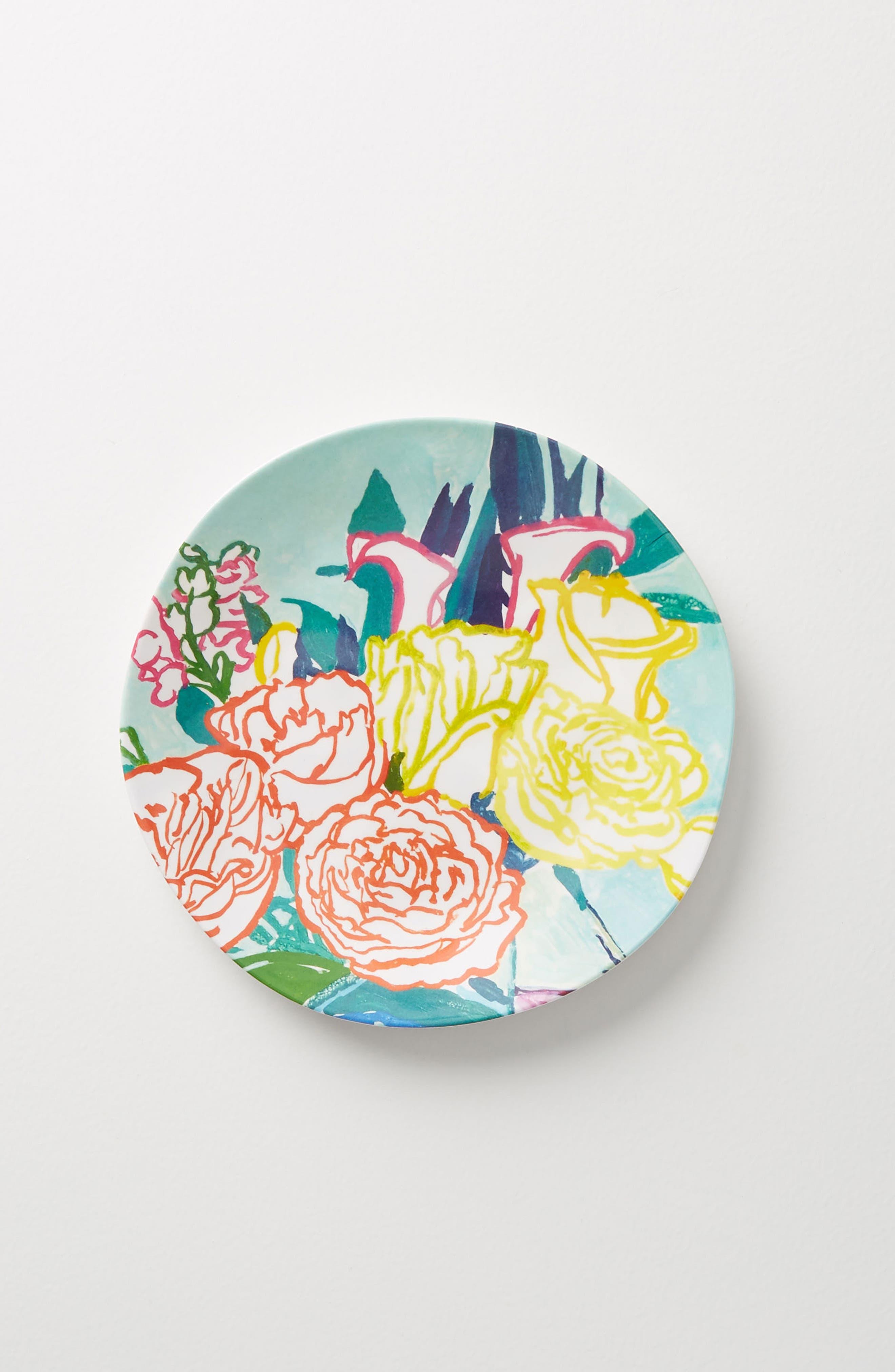 Paint + Petals Melamine Plate,                             Alternate thumbnail 2, color,                             TURQUOISE