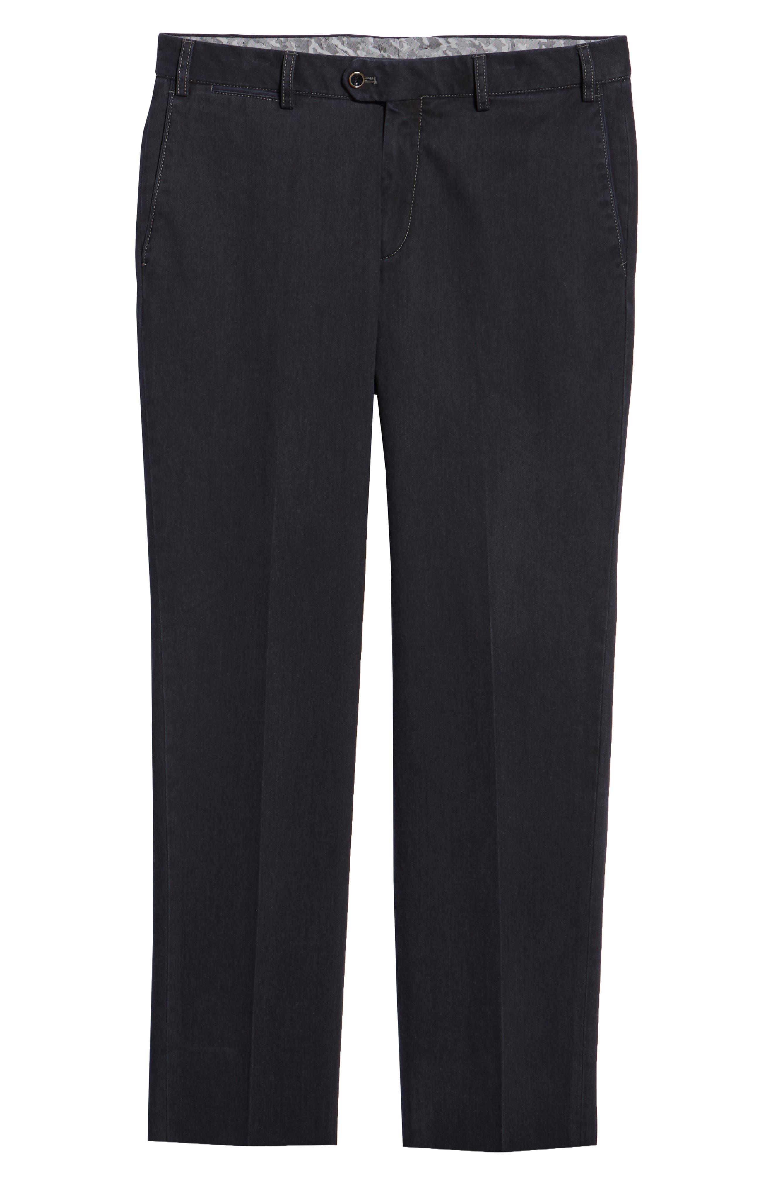 Pero Trim Fit Stretch Flat Front Cotton Blend Trousers,                             Alternate thumbnail 6, color,                             CHARCOAL