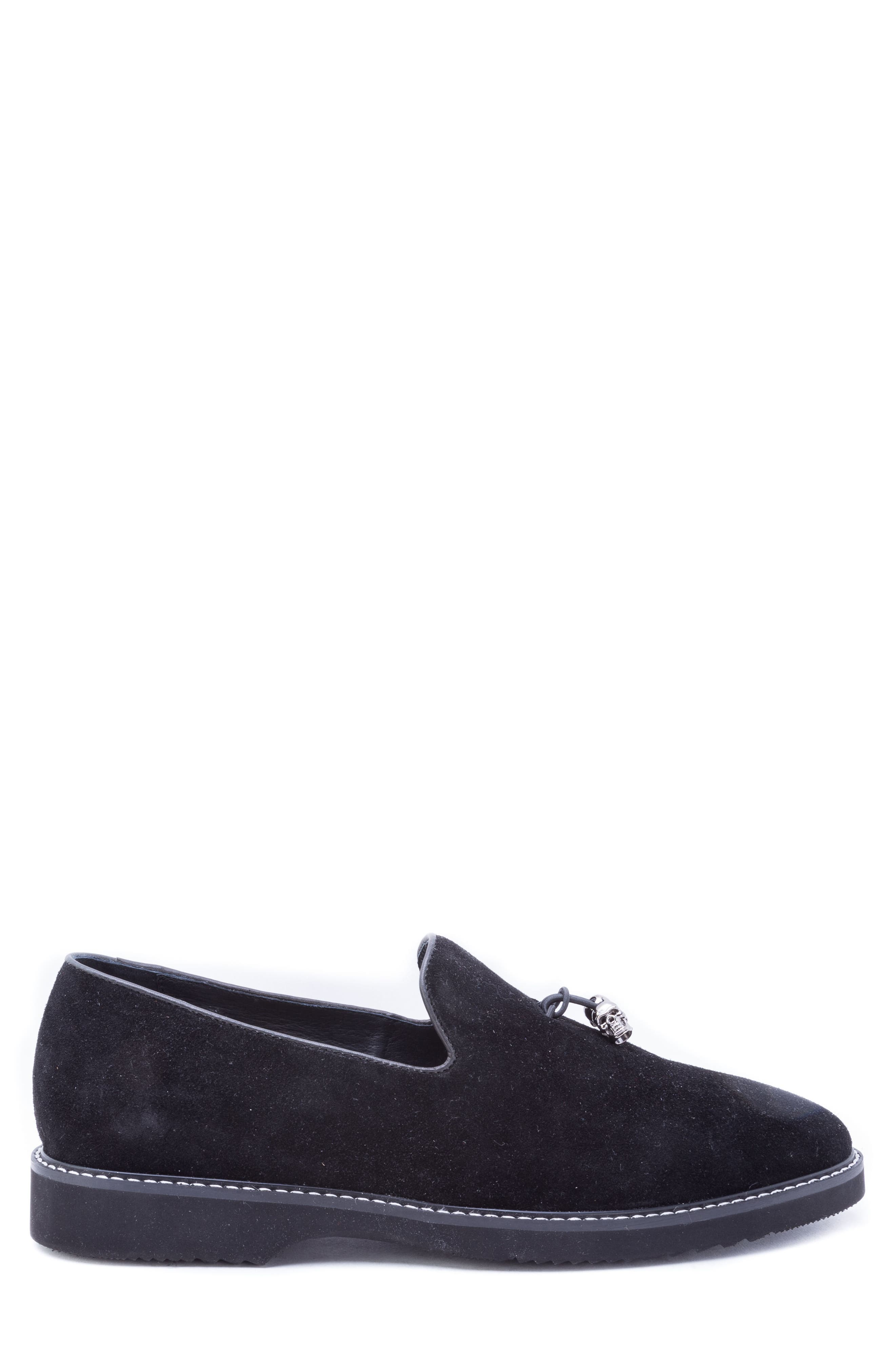 Badgley Mischka Heston Tassel Loafer,                             Alternate thumbnail 3, color,                             BLACK SUEDE