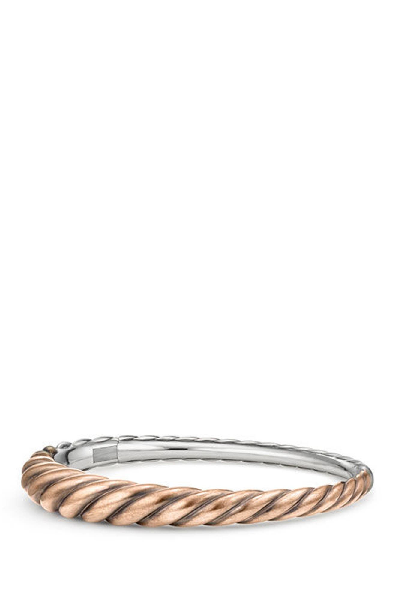 Pure Form Mixed Metal Cable Bracelet with Bronze and Silver, 9.5mm,                         Main,                         color, SILVER