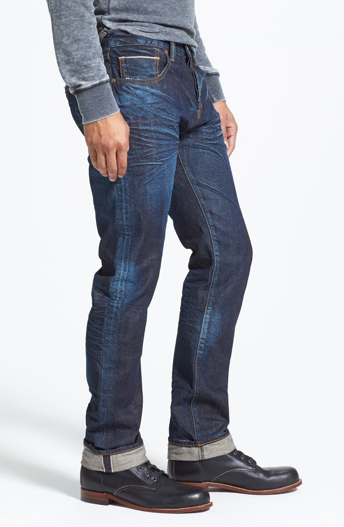 'Demon' Slim Straight Leg Selvedge Jeans,                             Alternate thumbnail 4, color,                             488