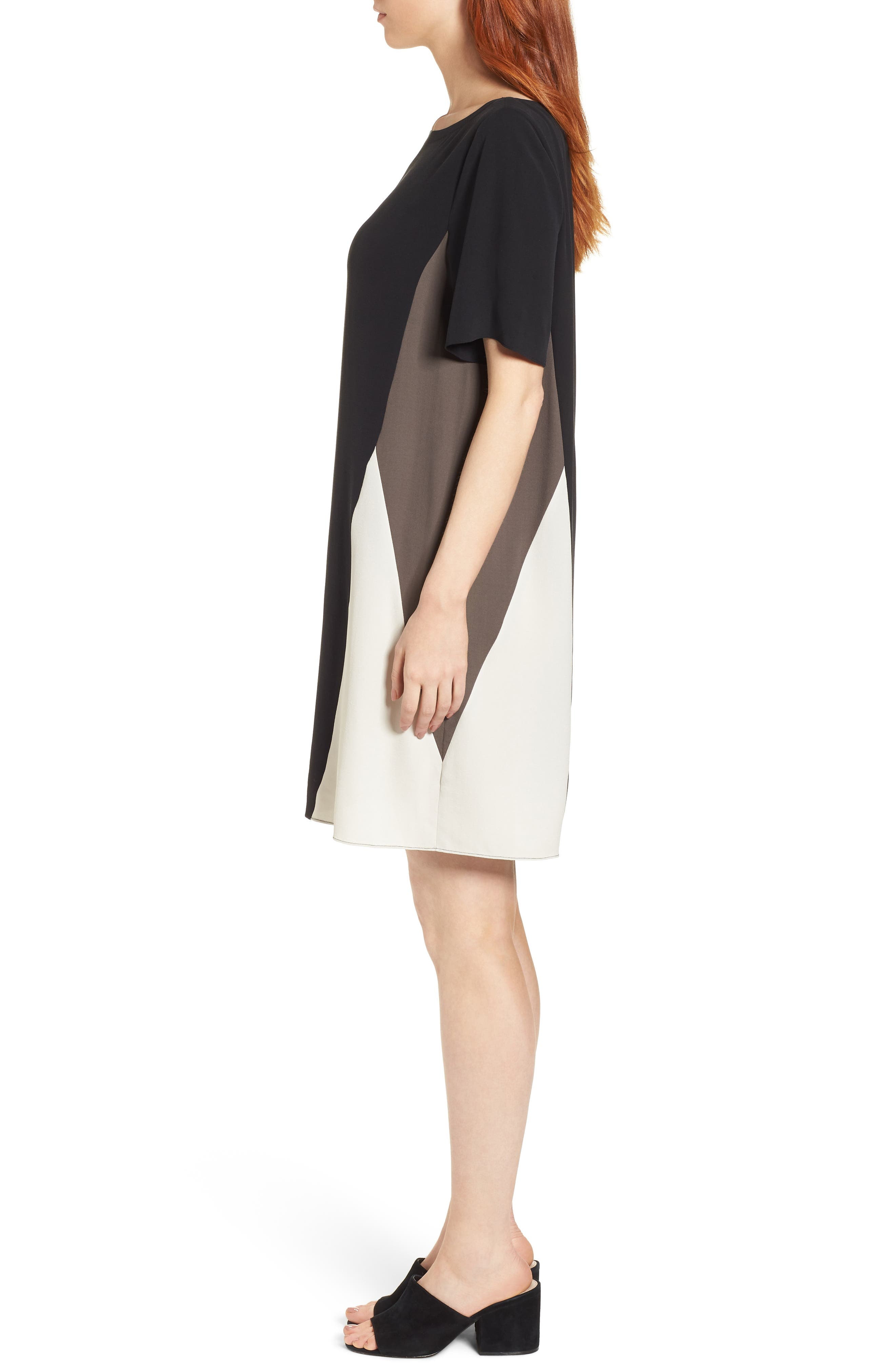 Colorblock Silk Georgette Crepe Dress,                             Alternate thumbnail 3, color,                             001