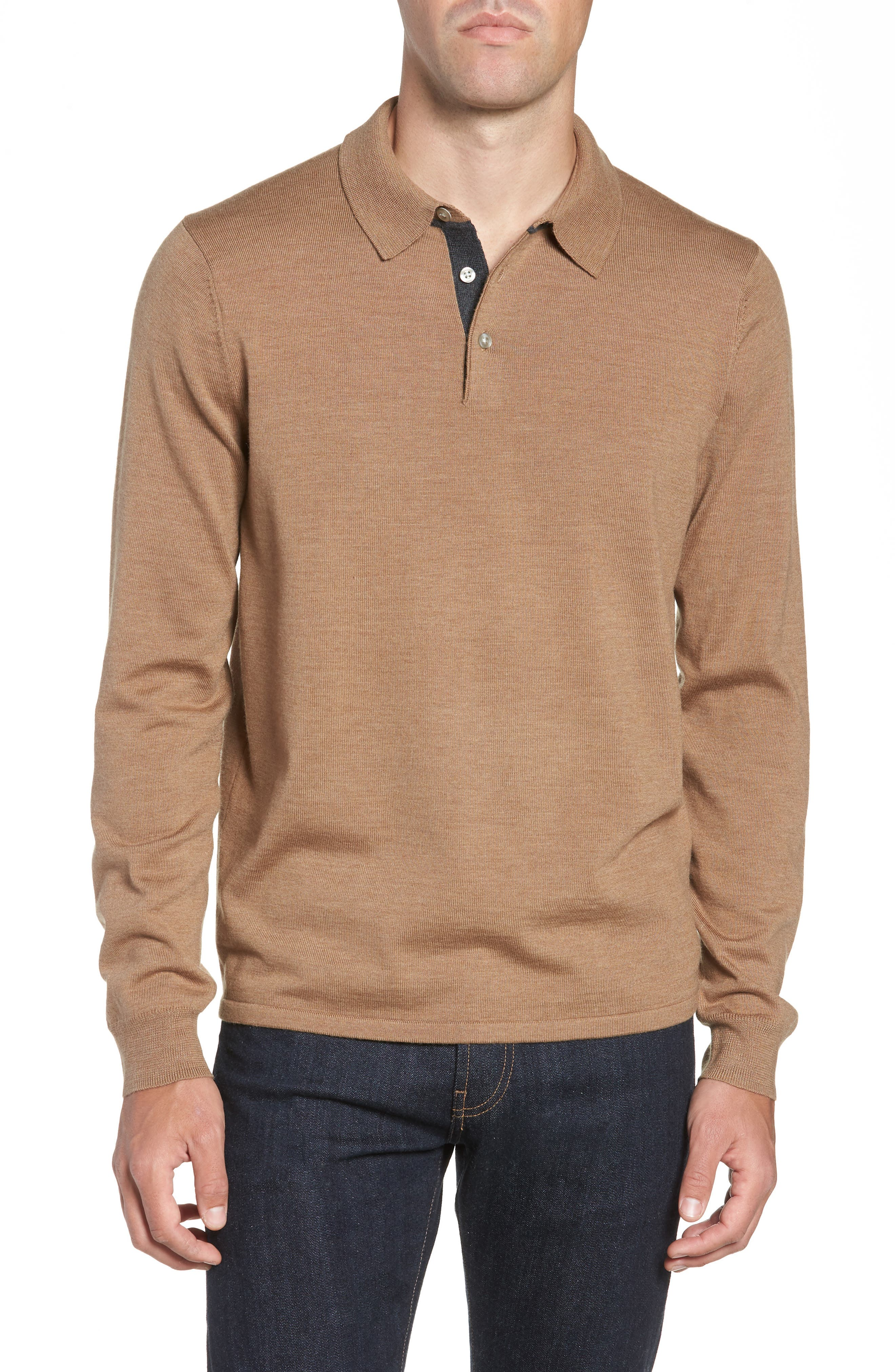 Nordstrom Shop Merino Wool Polo Sweater, Brown